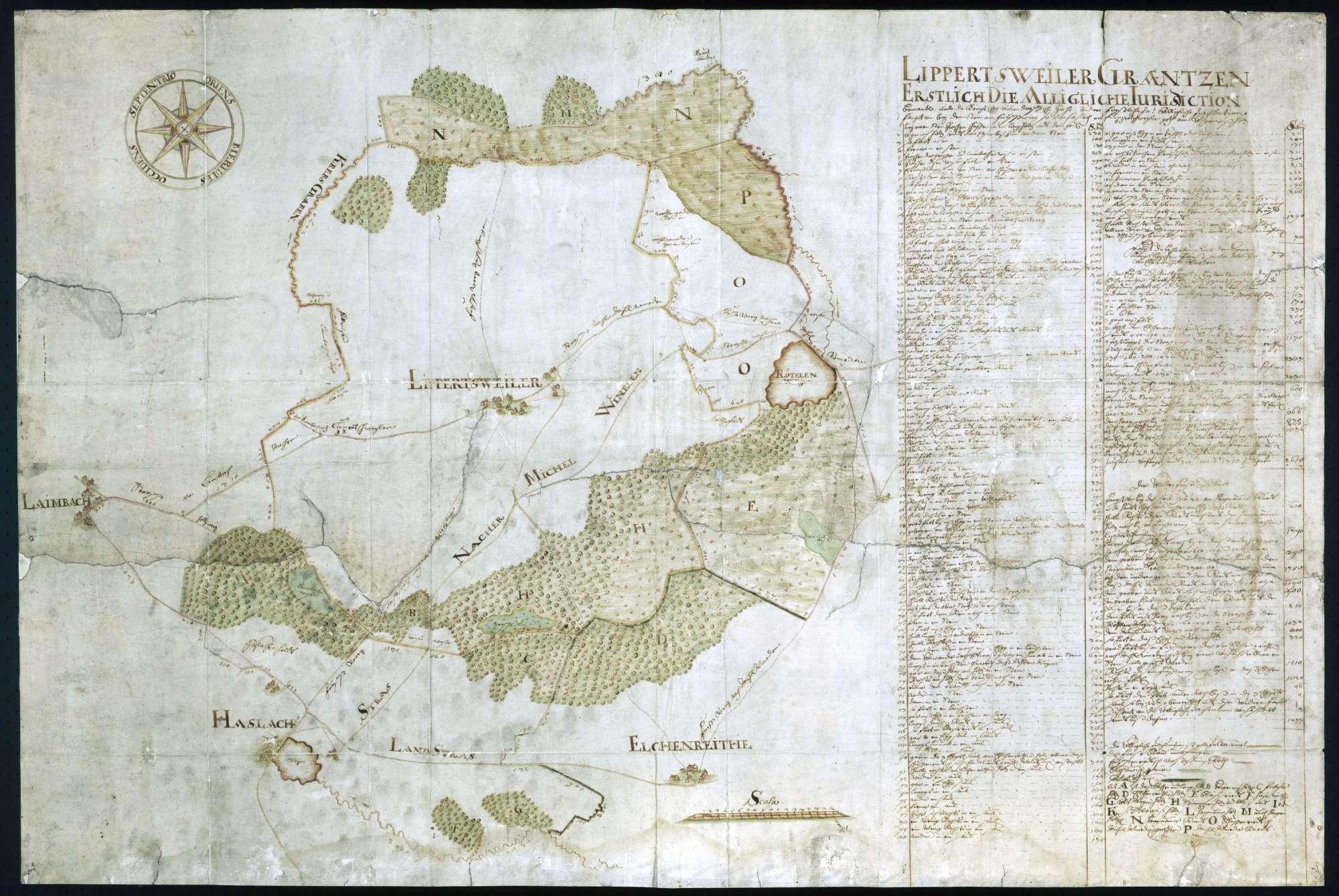 """""""Lippertweiler Graetzen (...)""""; """"Plan über die Lippertsweiler Gränzen"""" [nachträglich angebrachter Rückseitentitel], Bild 1"""