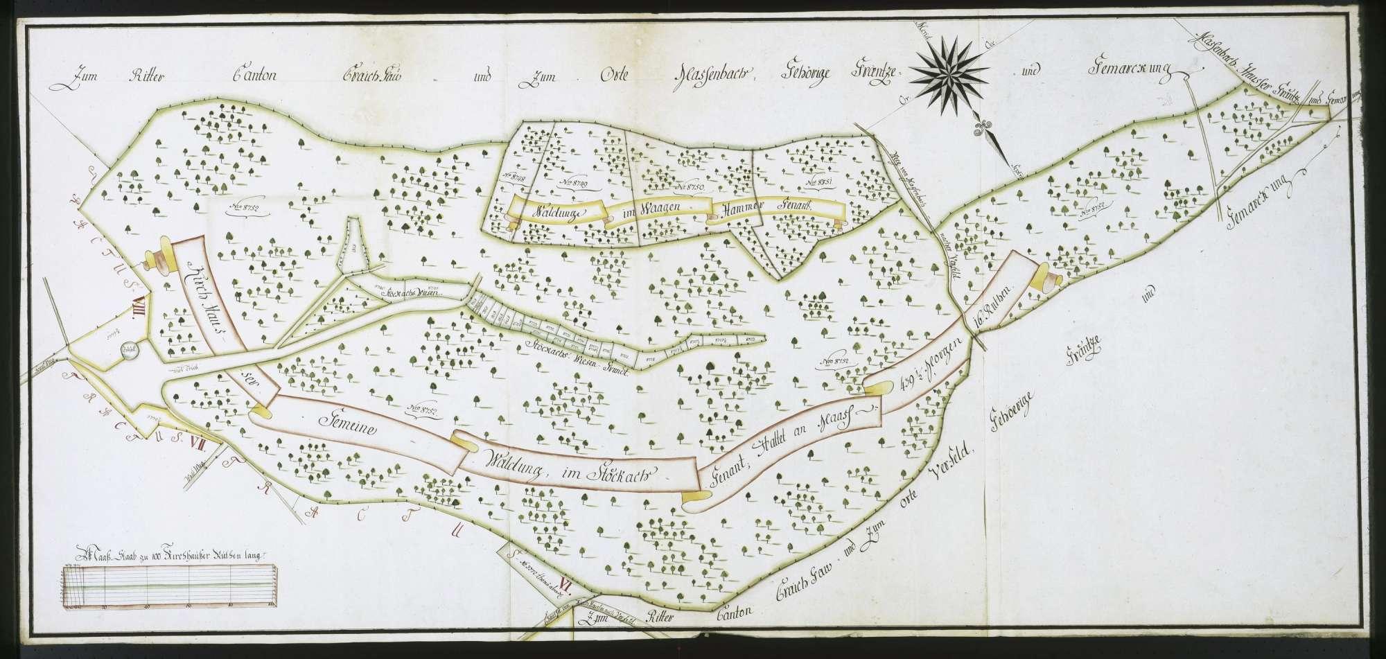 """Tractus XVII: """"Enthaltet den gemeinen Stokachswald, die Stökachswiesen, dann die Waldung im Waagenhammer"""", Bild 1"""