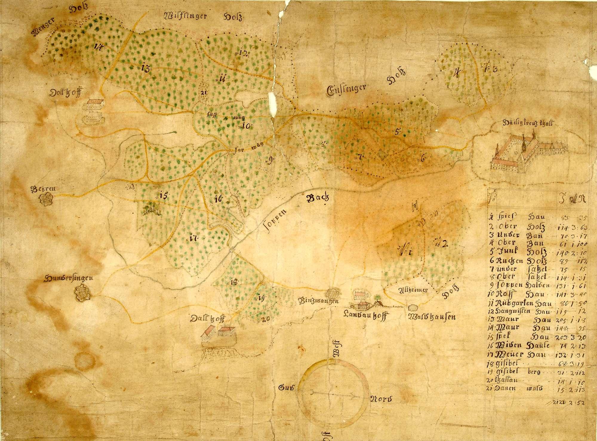 o. T. [Karte der zum Kloster Heiligkreuztal gehörigen Waldungen], Bild 1