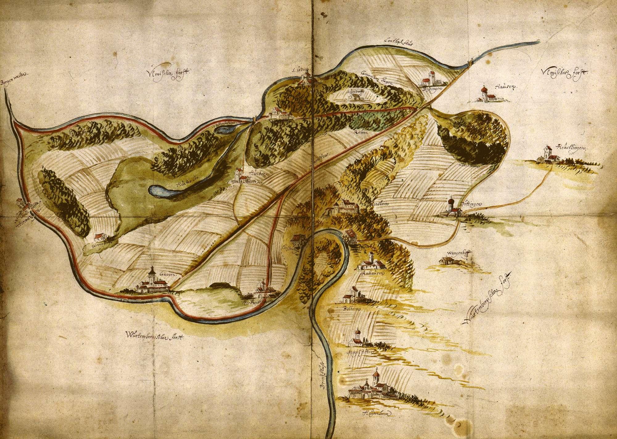 """""""Charte über den Ulmer Forst"""" [nachträglich angebrachter Rückseitentitel], Bild 1"""