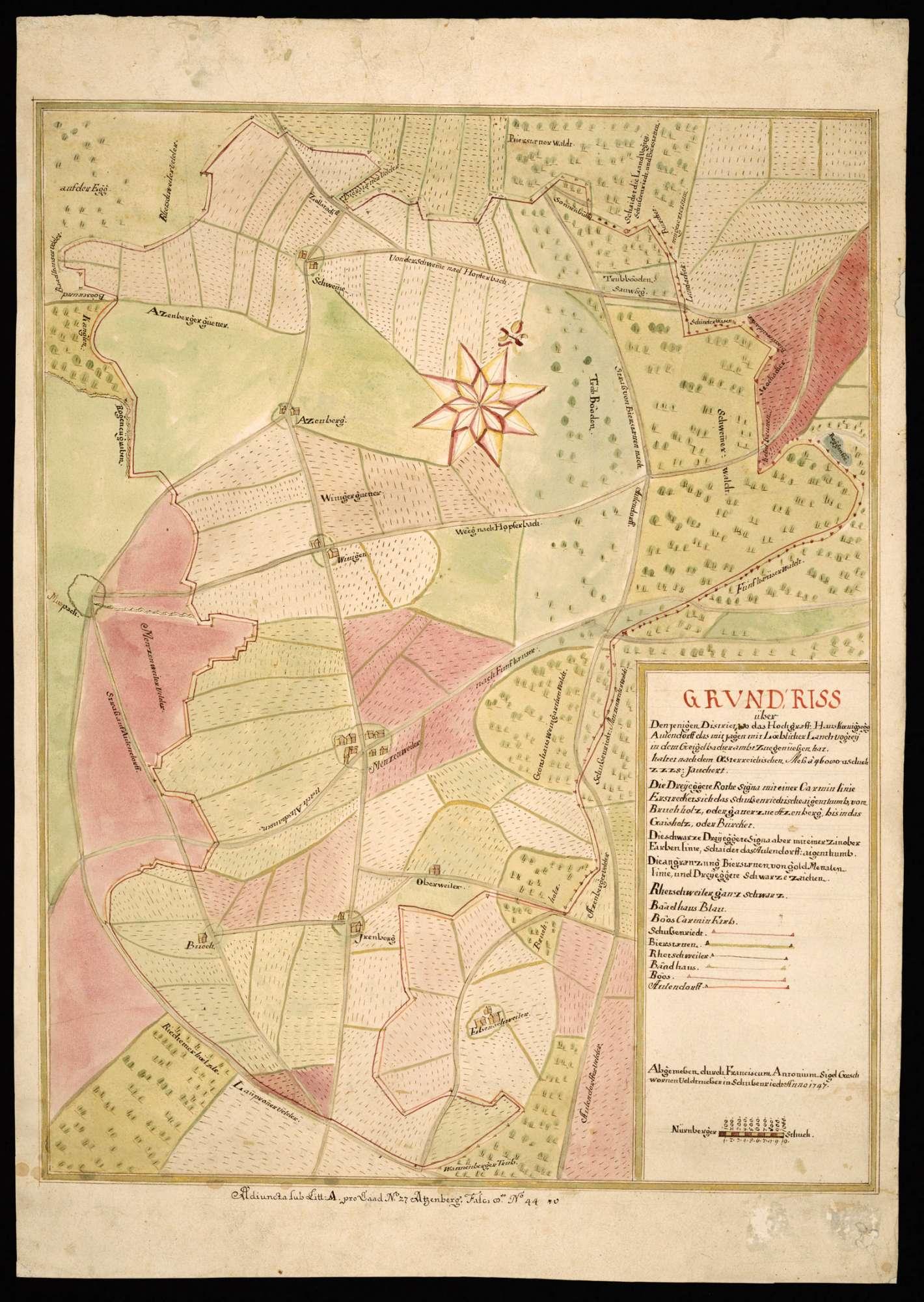 """Geigelbach """"Grundriss über denjenigen District, wo sich das Hochgräffliche Haus Koenigsegg Aulendorf das Mitjagen mit löblicher Landvogtey in dem Geigelbacher Ambt zue genüessen hat"""", Bild 2"""