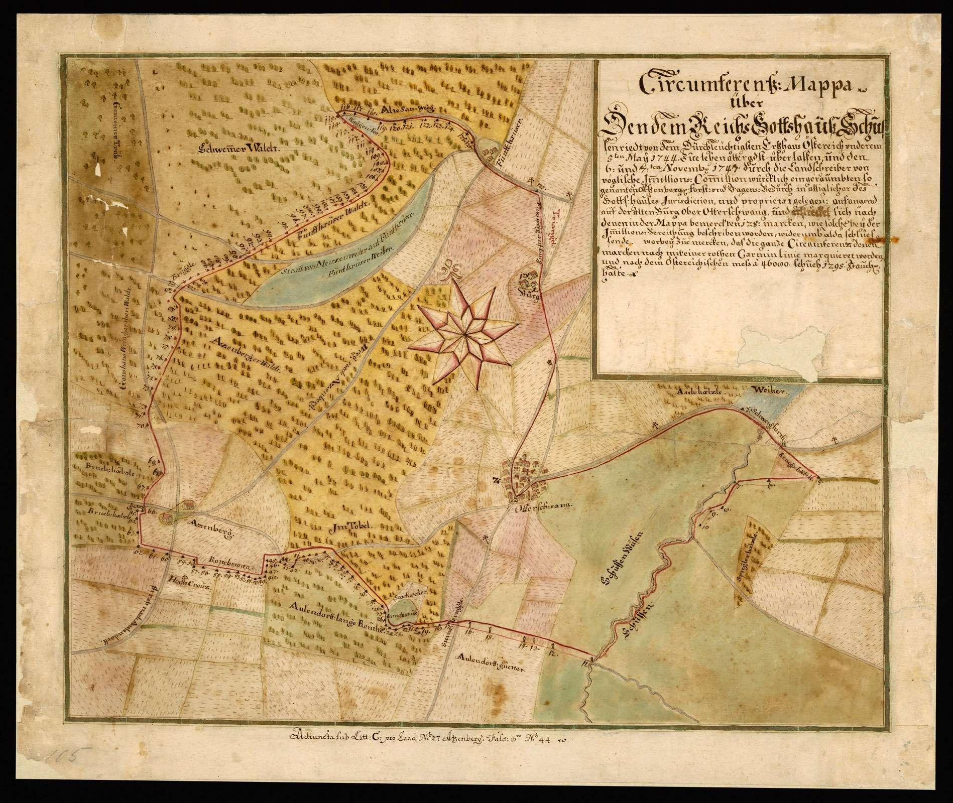 """Otterswang """"Circumferenz Mappa über den dem Reichsgottshauß Schussenriedt von dem durchleuchtigsten Ertzhauß Österreich underem 5ten May 1744 zue Lehen allergnedigst überlassen und den 6. und 7ten Novembris 1747 durch den Landschreiber... würcklich eingeraumbten, so genanten Atzenbergischen Forst- und Jagensbezürck in alliglicher des Gottshauses Jurisdiction und Proprietaet gelegen."""", Bild 2"""