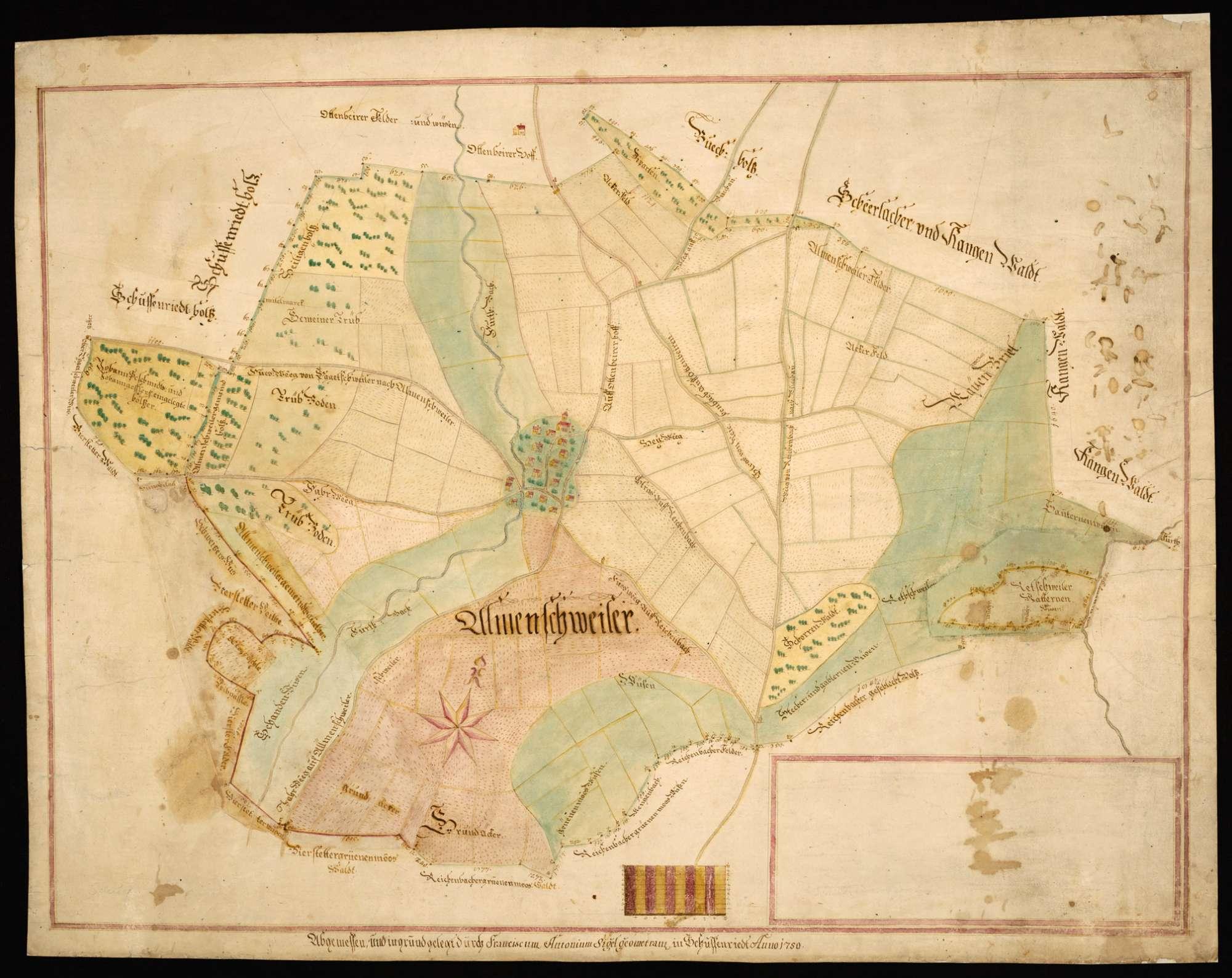 """Allmannsweiler [Karte der Gemarkung der Gemeinde Allmannsweiler (""""Almenschweiler"""")], Bild 2"""