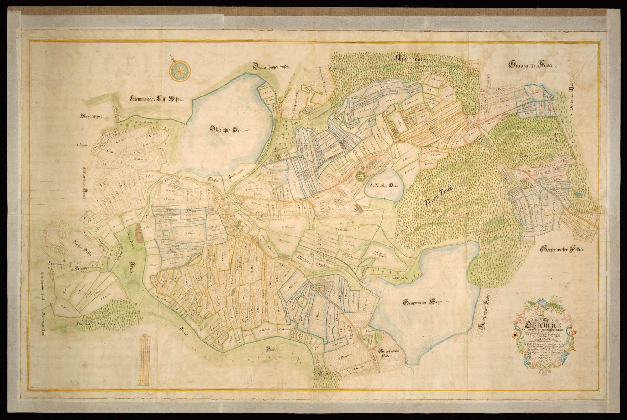 """Olzreute """"Mappa Geometrica über das Dorff Olzreuthe mit all seinen zugehörigen Gütheren"""", Bild 2"""