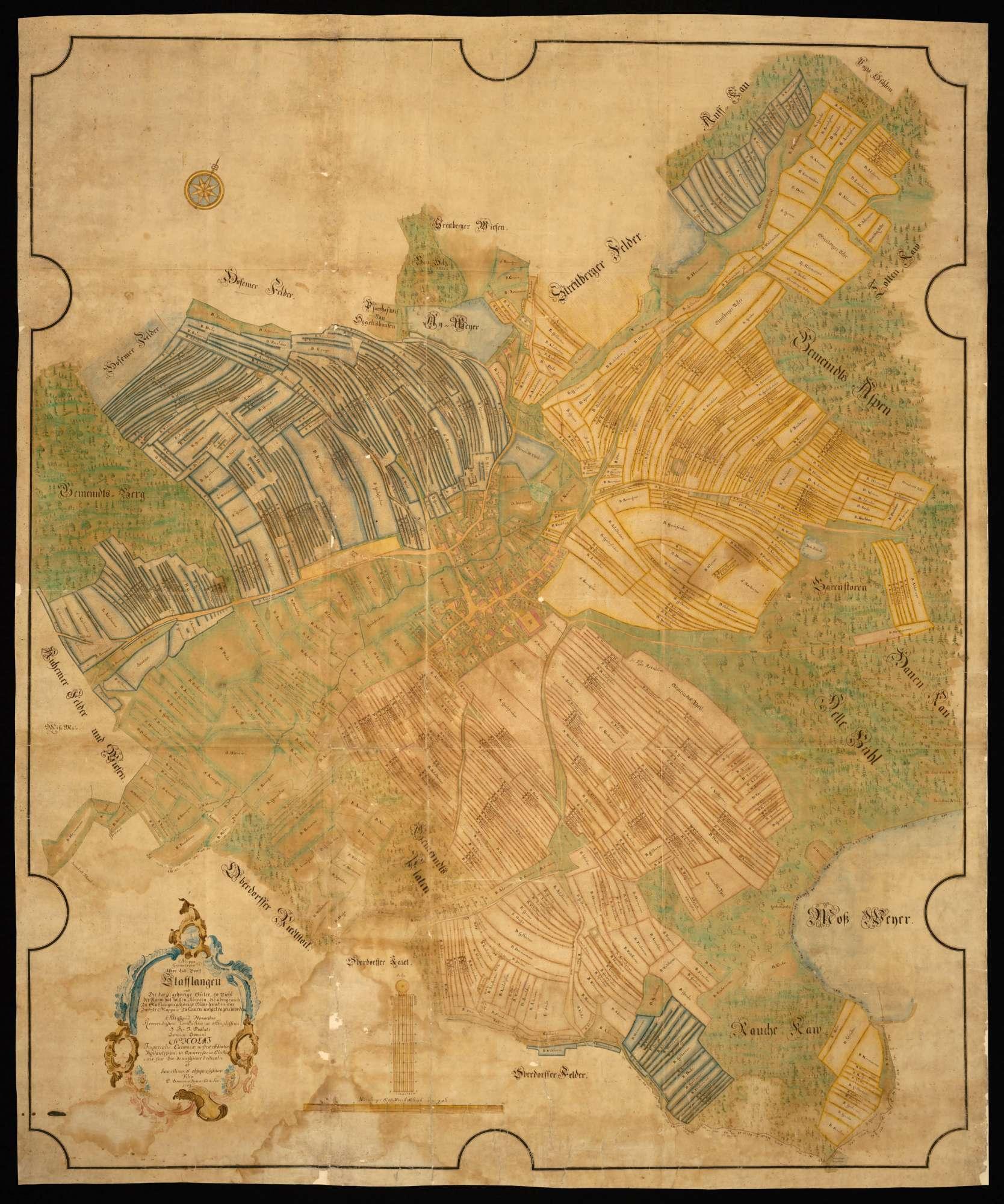 """Stafflangen """"Mappa Geometrica über das Dorff Stafflangen und die darzugehörige Güter, soviehl der Raum hat fassen können; die übrige auch zu Stafflangen gehörige Güter seynd in ein zweyte Mappam zusamen aufgetragen worden"""", Bild 1"""