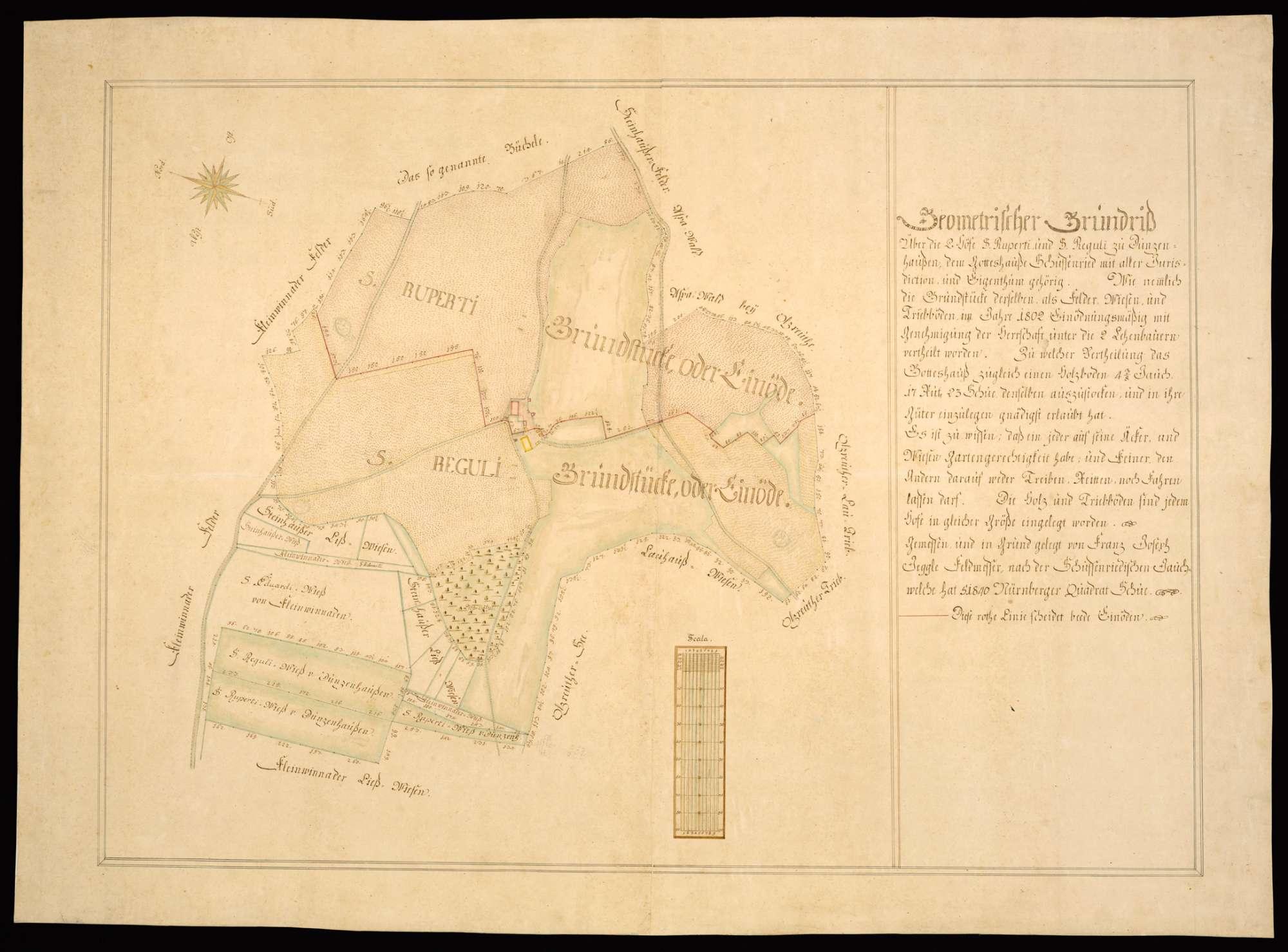 """Dunzenhausen """"Geometrischer Grundriß über die 2 Höfe S. Ruperti und S. Reguli zu Dunzenhausen, dem Gotteshauße Schussenried mit aller Jurisdiction und Eigenthum gehörig"""", Bild 2"""