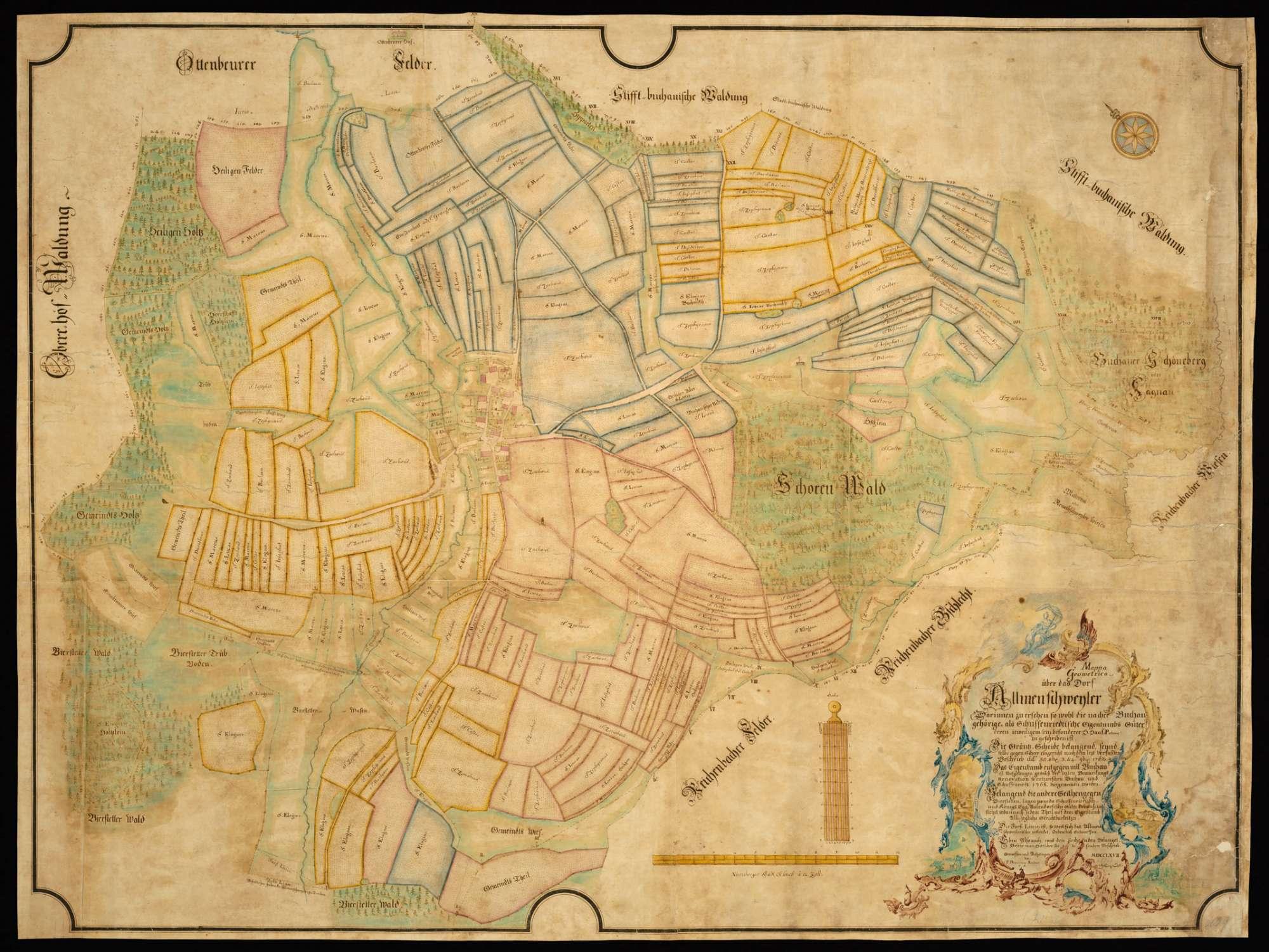 """Allmannsweiler """"Mappa Geometrica über das Dorf Allmenschweyler, darinnen zu ersehen, so wohl die nachher Buchau gehörige als Schussenriedtische Eigentumbs Güter, deren jeweiligem sein besonderer H. Haus-patron zugeschriben ist..."""", Bild 2"""