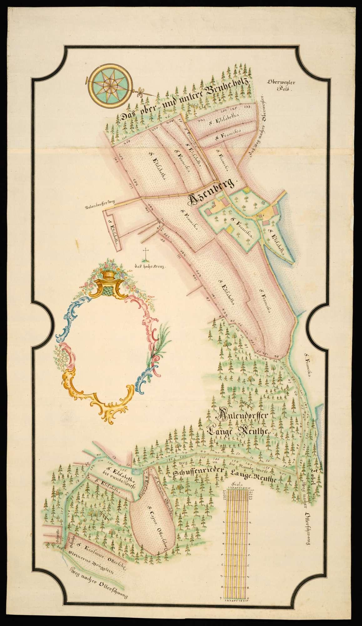 """Atzenberg [Ausschnittkarte über die bei Atzenberg gelegenen Waldungen """"Das obere und untere Bruheholz"""" und die """"lange Reute"""" und die Besitzverhältnisse daselbst, Bild 2"""