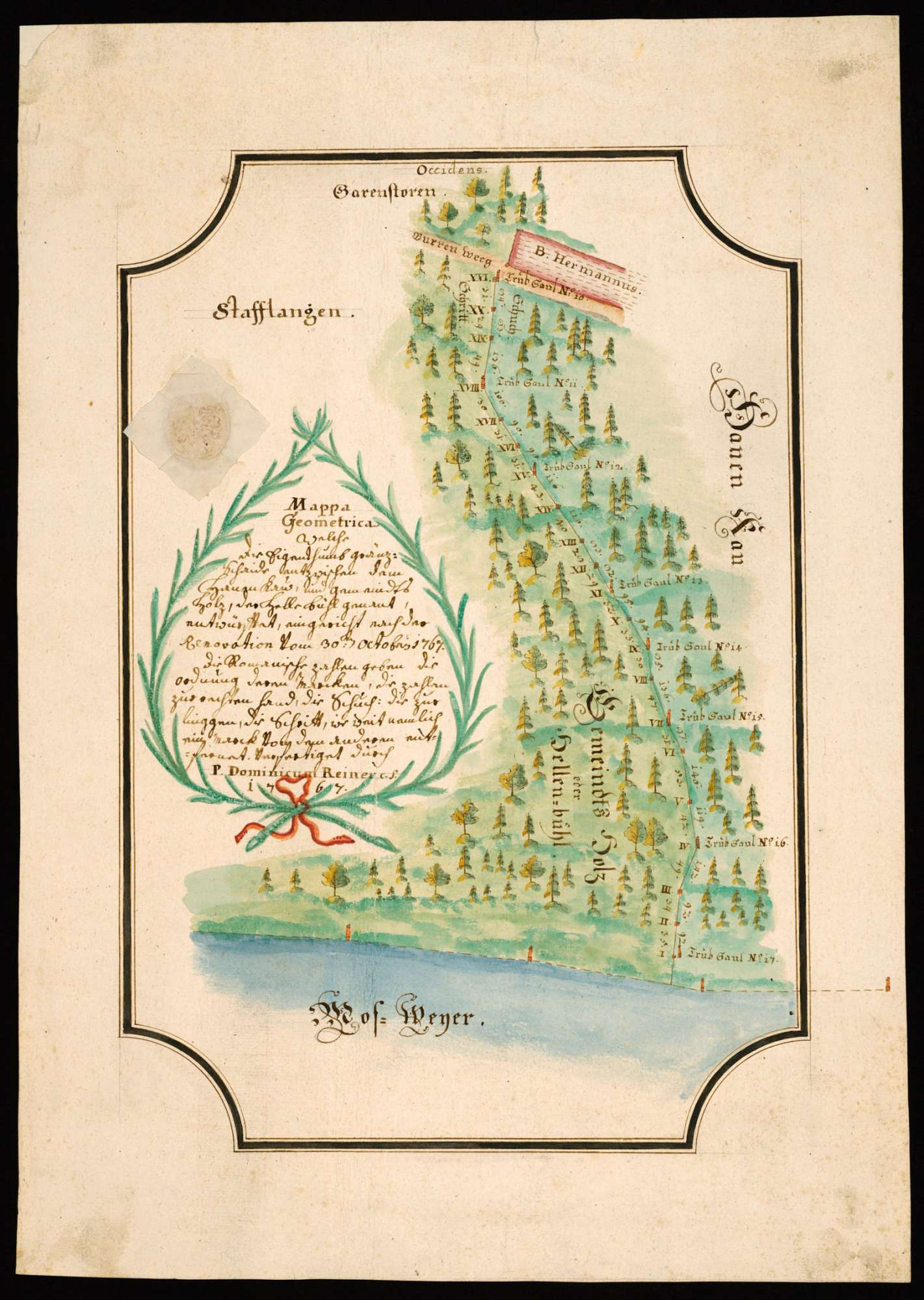 """Stafflangen """"Mappa Geometrica, welche die Eigentums-Grenzscheide zwischen dem Hahnen-Ghau und dem Gemeindsholz, der Hellenbühl genannt, entwirft""""., Bild 2"""