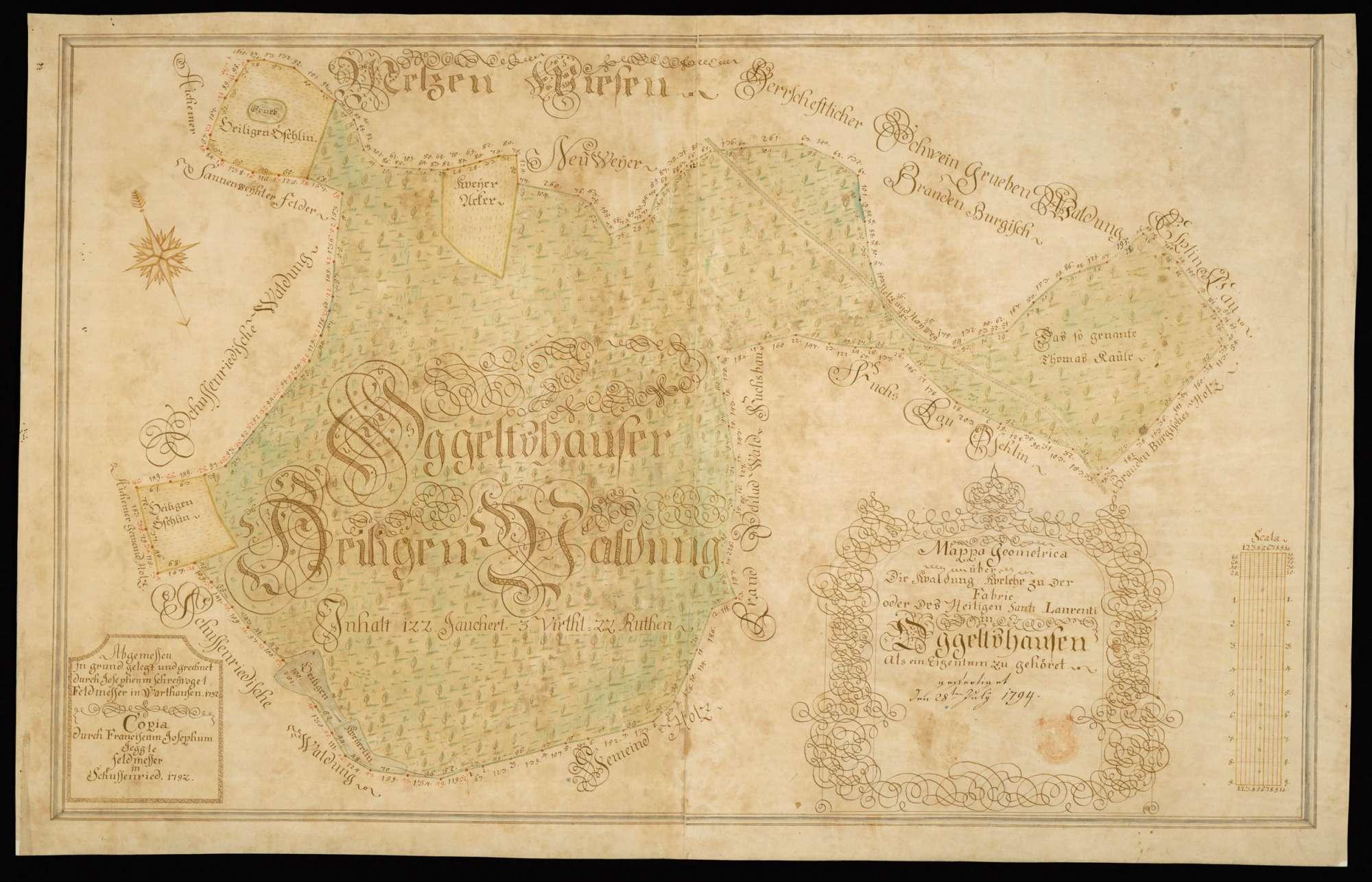 """Oggelshausen """"Mappa Geometrica über die Waldung, welche zu der Fabric oder des Heiligen Santi Laurenti in Oggelshausen als ein Eigentum zugehöret""""., Bild 2"""