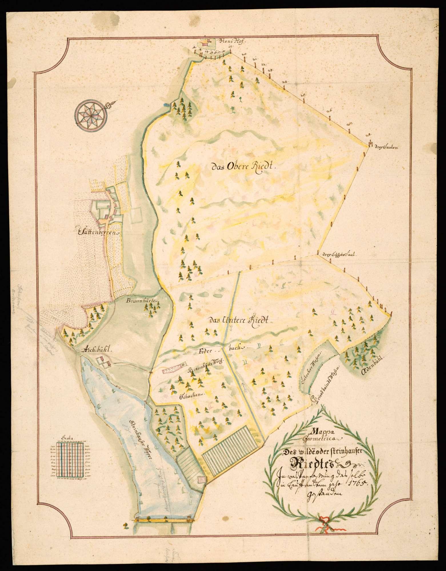 """Steinhausen """"Mappa Geometrica des Wilden oder Steinhauser Riedtes, in was Verfassung dasselbe in lauffendtem Jahr 1765 gestanden""""..., Bild 2"""