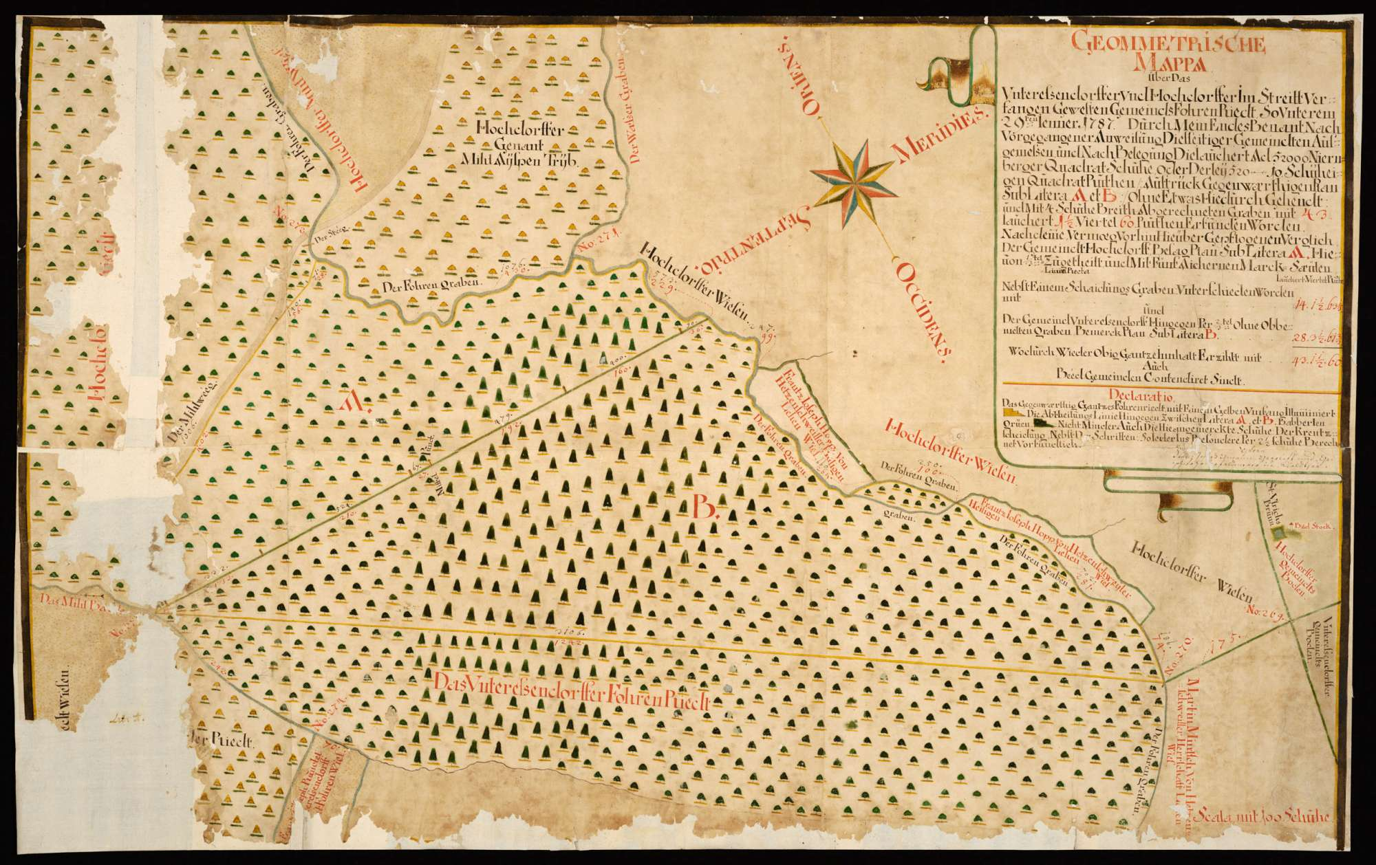 """Hochdorf - Unteressendorf """"Geometrische Mappa über das Unteressendorffer und Hochdorffer im Streitt verfangen gewesten Gemeinds Fohren Riedt, so unterem 29ten Jenner 1787 ..."""", Bild 2"""