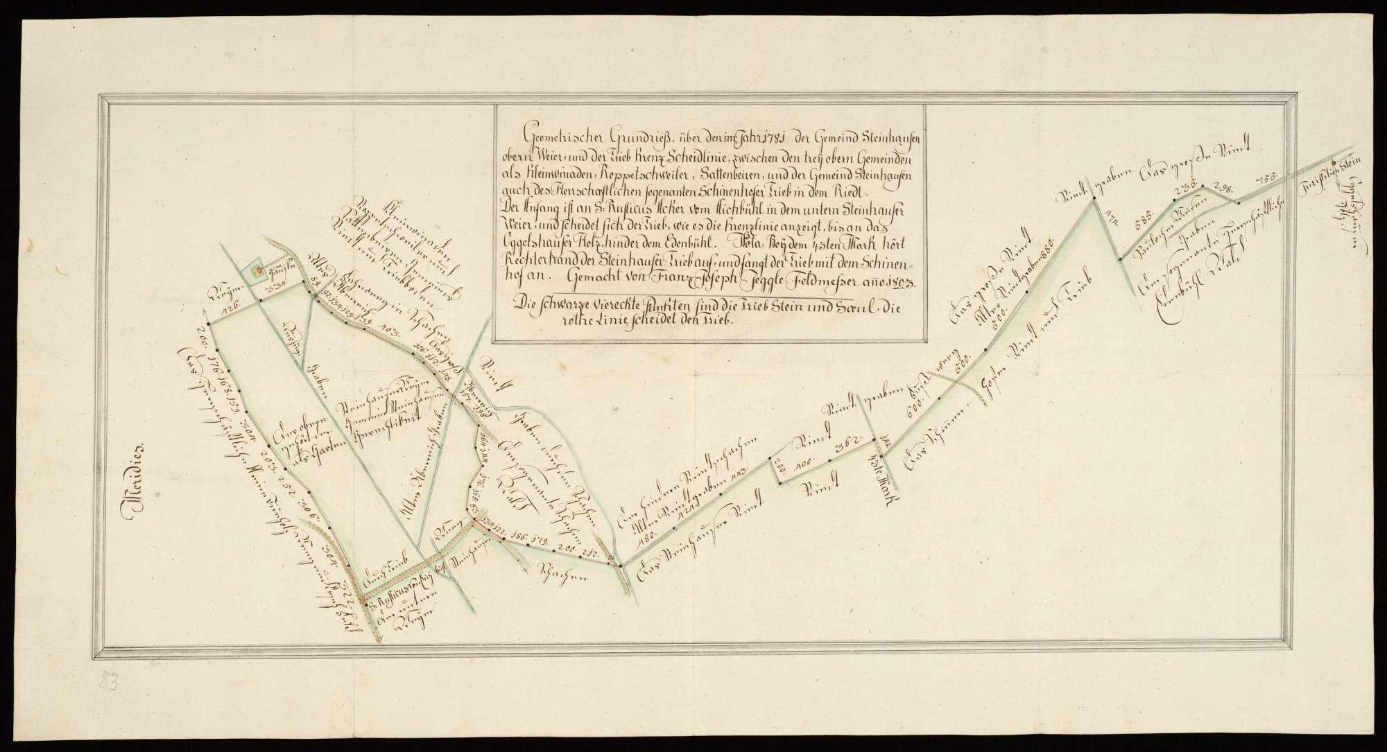 """Steinhausen """"Geometrischer Grundriß über den im Jahr 1781 der Gemeind Steinhausen [zugehörigen] obern Weier und der Trieb-Krenz-Scheidlinie zwischen den trey obern Gemeinden als Kleinwinaden, Roppertschweiler, Sattenbeiren und der Gemeind Steinhausen, auch des herrschaftlichen, sogenanten Schinenhofer Trieb in dem Riedt..."""", Bild 2"""