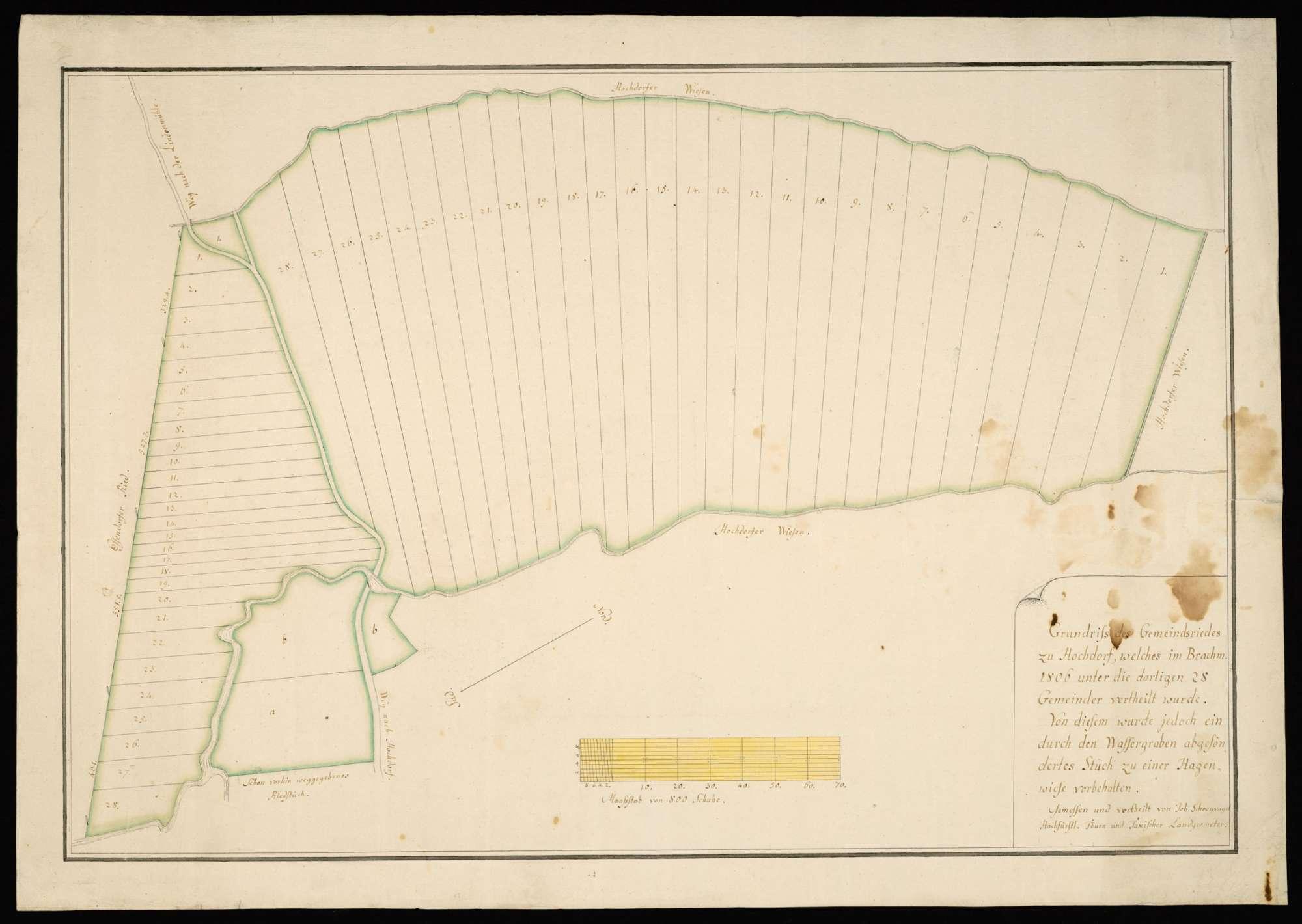 """Hochdorf """"Grundriß des Gemeindsriedes zu Hochdorf, welches im Brachmonat 1806 unter die dortigen 28 Gemeinder vertheilt wurde"""", Bild 2"""