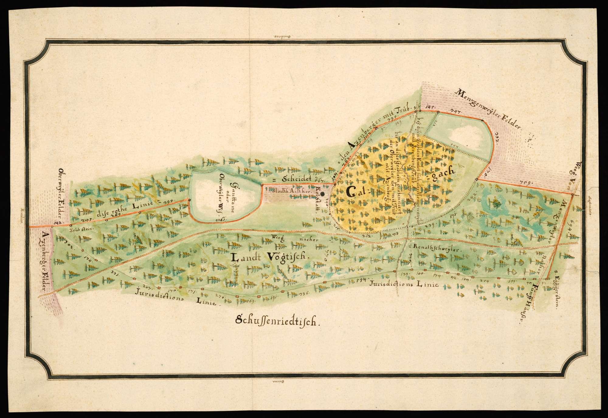 """Atzenberg - Menzenweiler [Karte der Jursidiktionsgrenze zwischen Kl. Schussenried und der Landvogtei Schwaben im Gebiet von Atzenberg und Menzenweiler sowie über den strittigen Trieb im """"Galgach""""], Bild 2"""