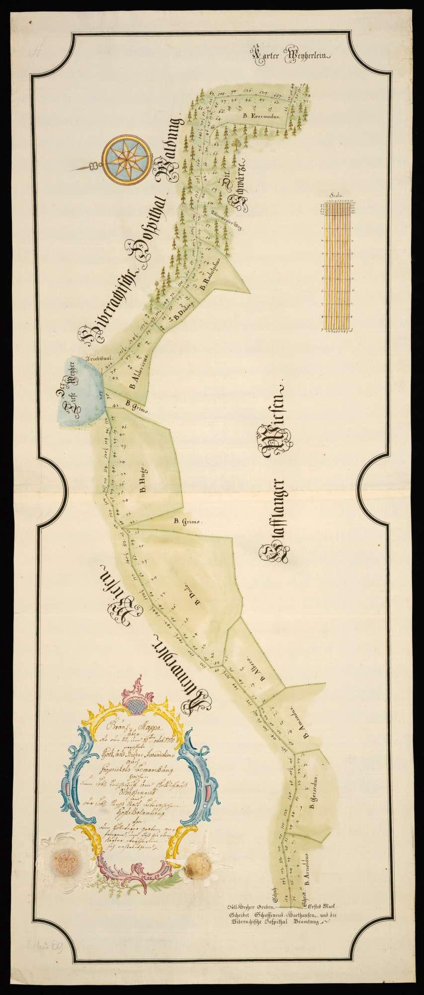 """Schammach """"Gränz-Mappa über die den 14. und 16. October 1768 errichtete Hoch- und Niedere Jurisdictions- auch Proprietaets-Bemarckung zwischen dem Löbl. Reichsstüfft und Gottshauß Schussenried und der Löbl. Reichß-Stadt Biberachischen Hospitalamtung von dem Höllweyergraben anfangend biß zu dem Karter-Weyherlin sich erstreckend"""", Bild 2"""