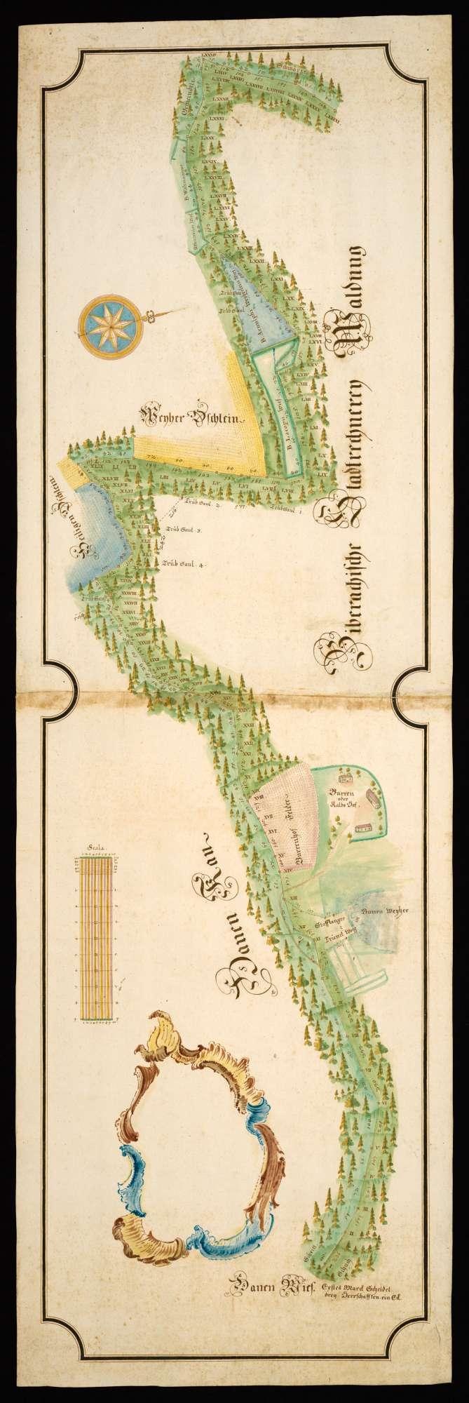 """Stafflangen - Biberach """"Gränz-Mappa von der Hanenwieß bis an die Schwärze"""" (Rückseitentitel) [Karte über die Jurisdiktions- und Gemarkungsgrenze im Stafflanger Bezirk beim Burrenhof?], Bild 2"""