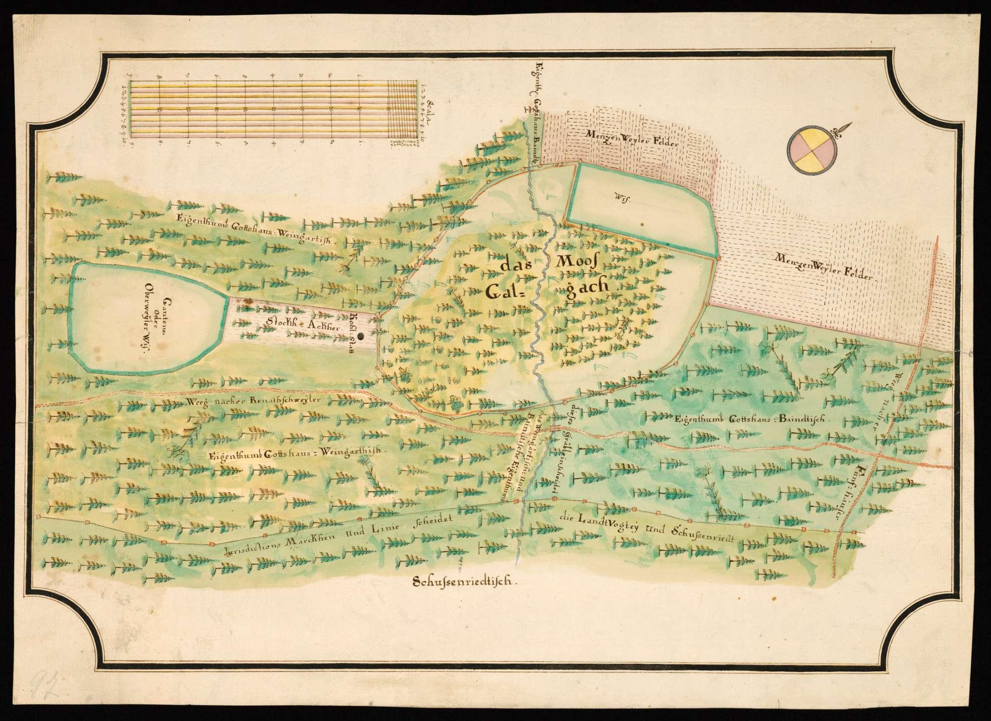 Menzenweiler - Otterswang o. T. [Karte über die Grenz- und Jurisdiktionsverhältnisse im Gebiet von Moos Galgach, Oberwald und Auwald], Bild 2