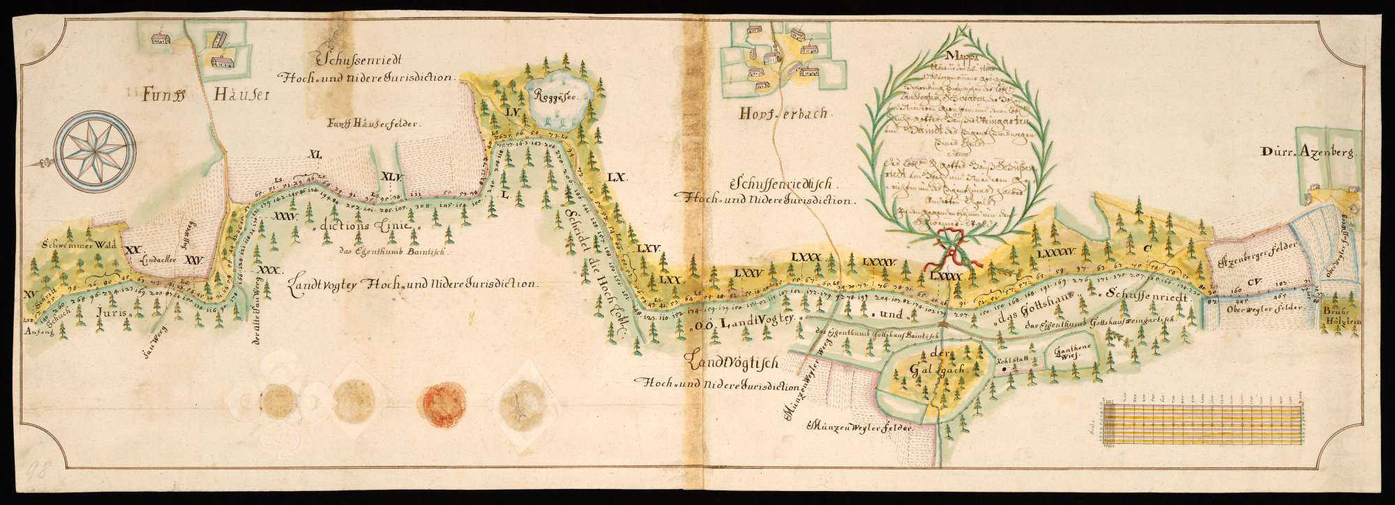 """Geigelbach - Otterswang """"Mappa über die den 25. Septembris 1765 vorgenommene Gränzbeschreibung entzwischen der löblichen Landvogtey Schwaben, der hohen und niederen Gerichten und denen löblichen Reichsgotteshäuser Weingarten und Baindt des Eigenthumms wegen eines Theils, dann des löblichen Reichsgotteshauß Schußenriedt von Hoch- und nideren Gerichten und des Eigenthumbs halber änderten Theils in den Gegenden bey und um den Schwemmer - Wald"""", Bild 2"""