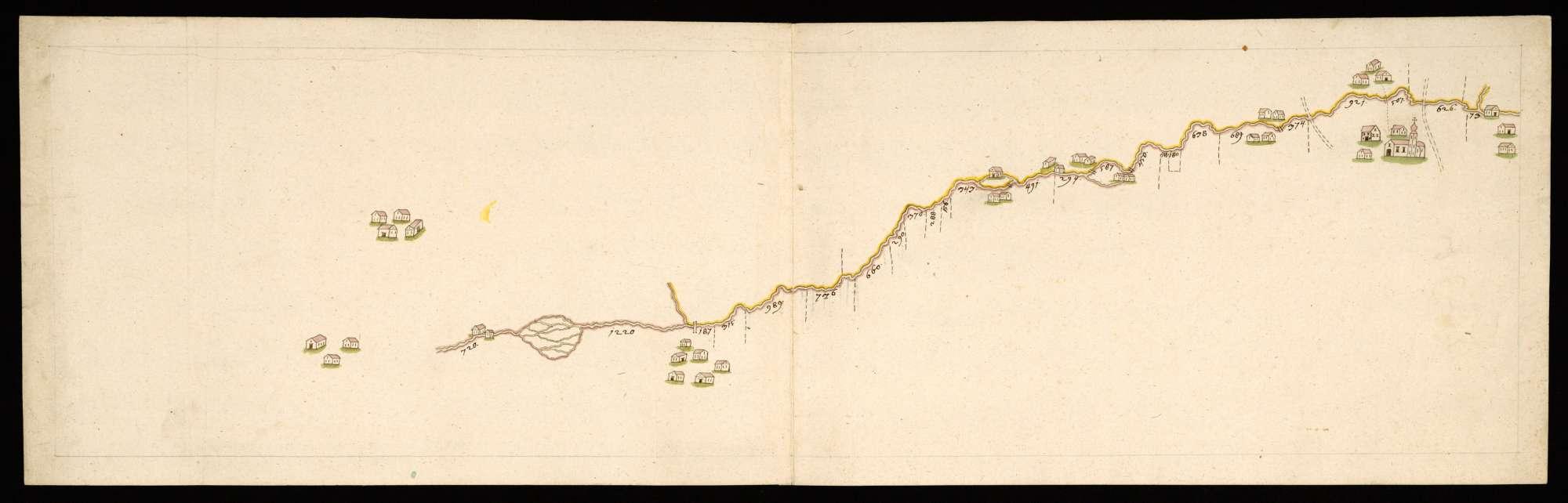 """""""Ach, Emmelhofen [""""Emlhof""""]"""" Rückseitentitel [Karte über das weingartische Fischwasser im Fluß Ach [=Schwarzach] bei Emmelhofen mit Abstandsangaben], Bild 1"""