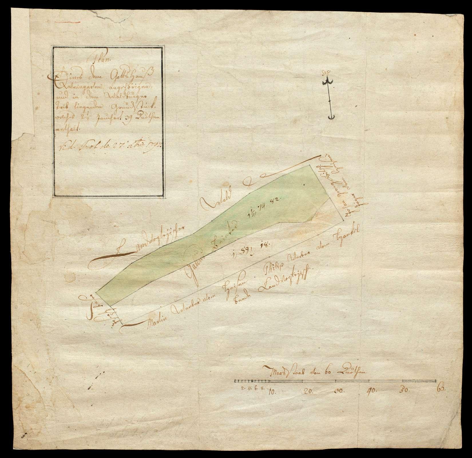 """""""Waldfelder [Rückseitentitel]"""", """"Plan eines dem Gotteshaus Weingarten angehörigen und in dem Waldburger Trieb liegenden Grundstück, welches 2 1/2 Jauchert 39 Ruten enthält"""", Bild 1"""