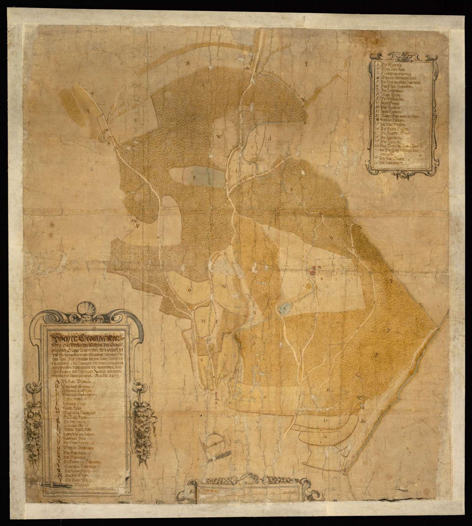 """""""Wahrer geometrischer Abriss oder verjüngte Mappa des Gotteshäusischen Gutes Nessenreben, wie solches liegt und wie sich das Altdorfische Bürgerholz nebenbei herumzieht, auch wie solches mit einer roten Mark- oder Circumferrenz-Linie umfangen, und den darin befindlichen Marken und unterscheiden und abgeschnitten, auch deren Hölzer und Felder Namen, mit einem Alphabet und Ziffern gezeichnet anno domini 1659"""", Bild 2"""