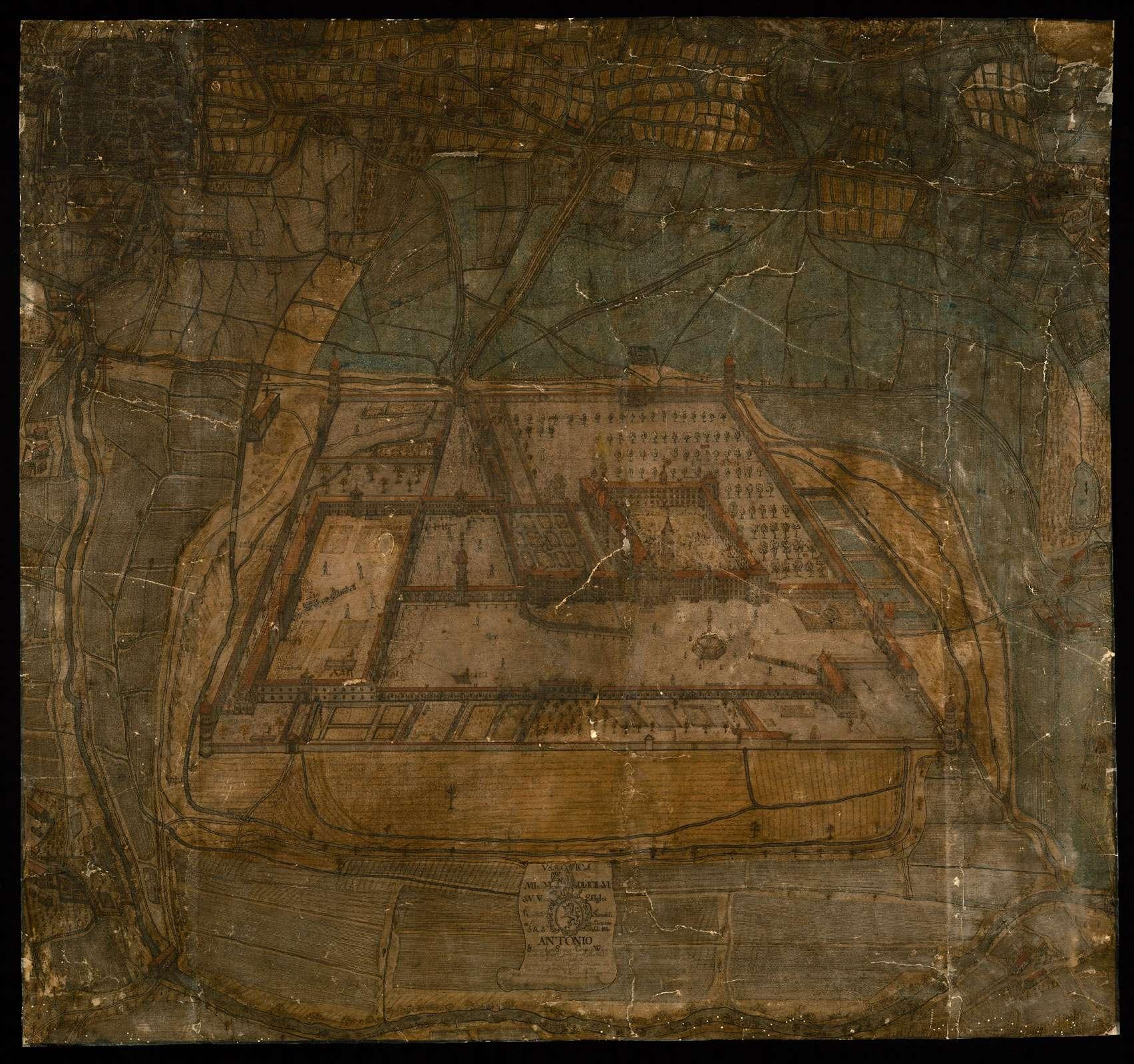Weißenau: Eschach, Stadt Ravensburg, Lkr. Ravensburg Lateinischer Titel (1) [Prospekt der Klosteranlage Weißenau von Westen], Bild 2