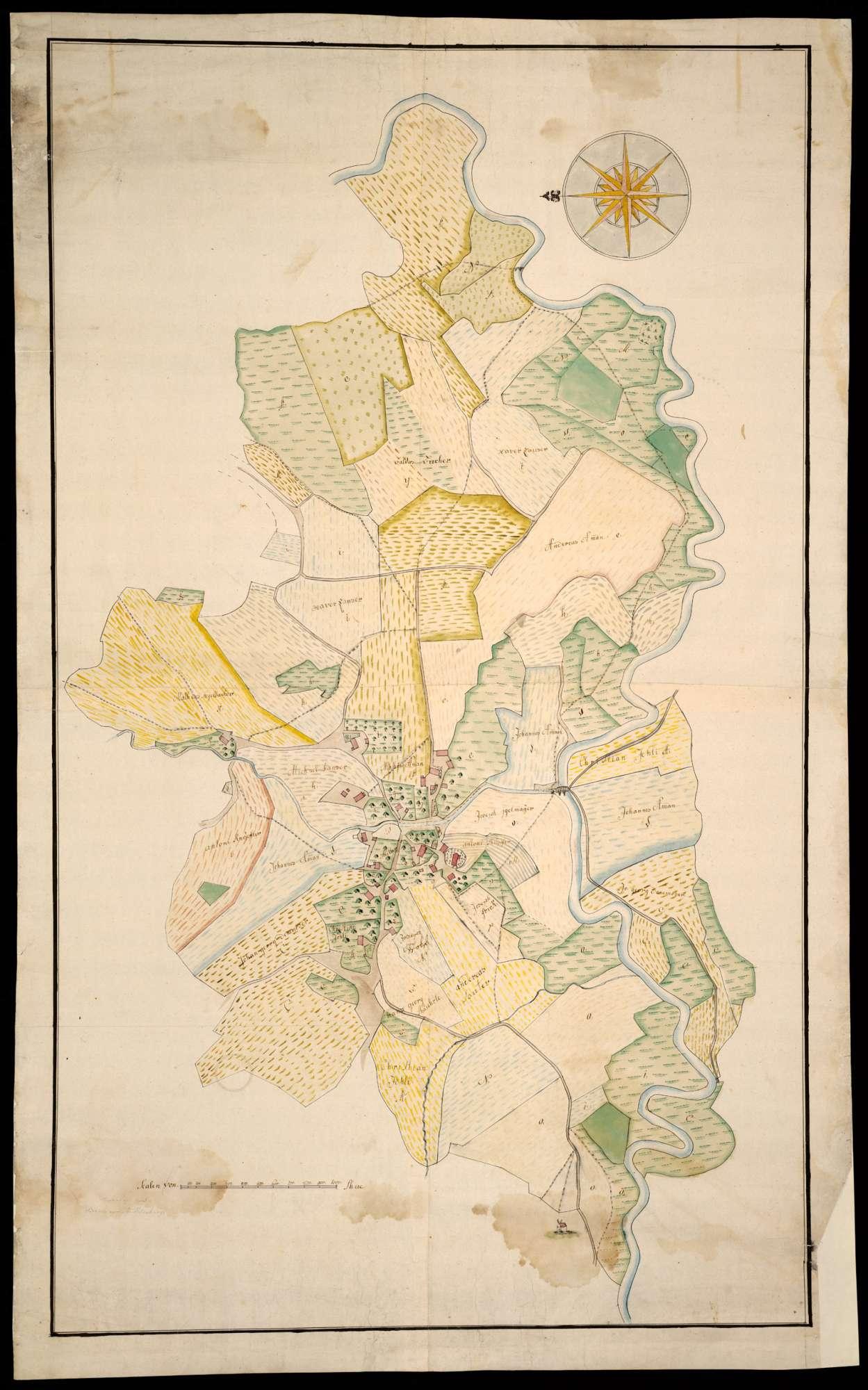 Oberzell: Taldorf, Stadt Ravensburg, Lkr. Ravensburg o. T. [Grundriss des Ortes Oberzell mit den dazugehörigen Grundstücken], Bild 2