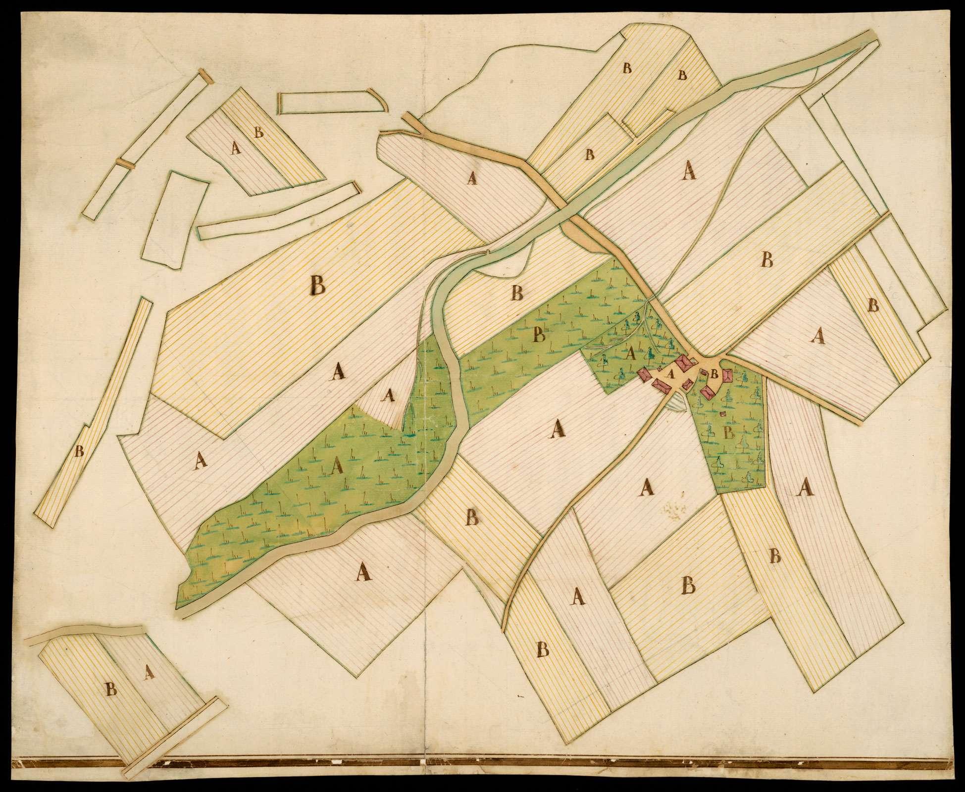 """Karte, bei der keine Identifizierung möglich ist (1) o. T. [Grundriss von zwei Höfen und den dazugehörigen Grundstücken] """"Höf Brugen"""" (2), Bild 2"""
