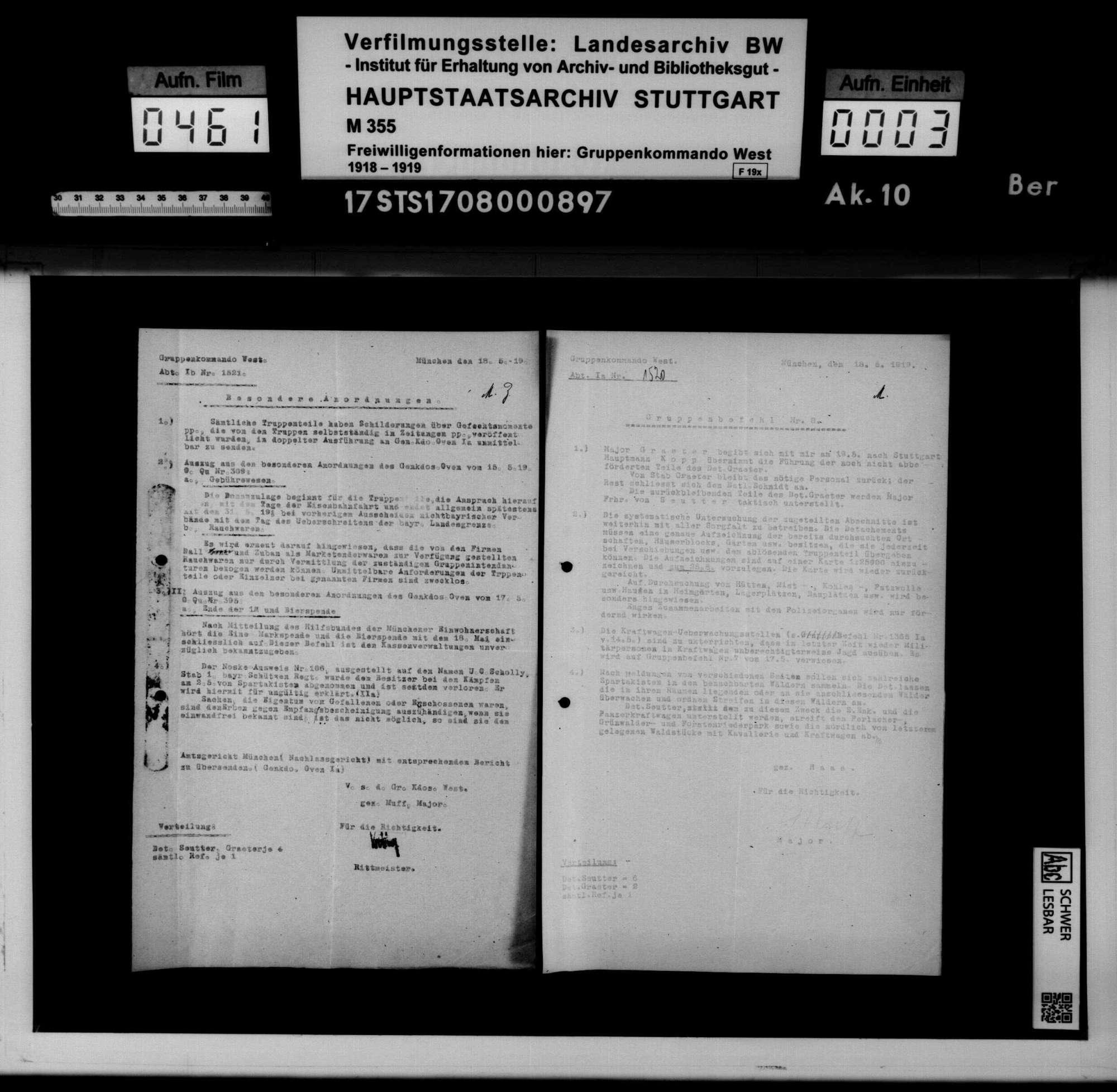 Befehle und Anordnungen des Württembergischen Kriegsministeriums, Generalkommandos XIII und der Bayerischen Behörden, Bild 1