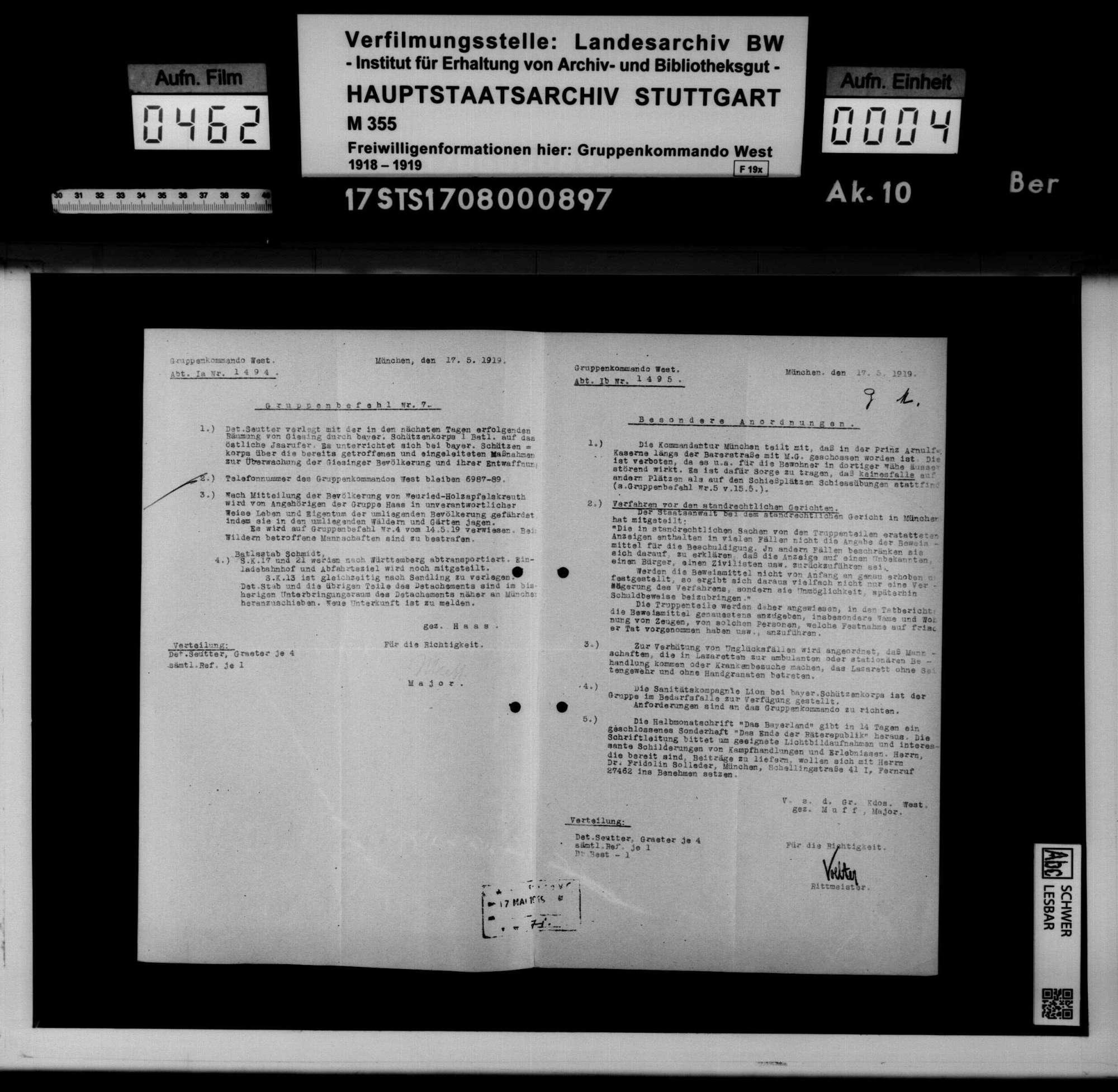 Befehle und Anordnungen des Württembergischen Kriegsministeriums, Generalkommandos XIII und der Bayerischen Behörden, Bild 2