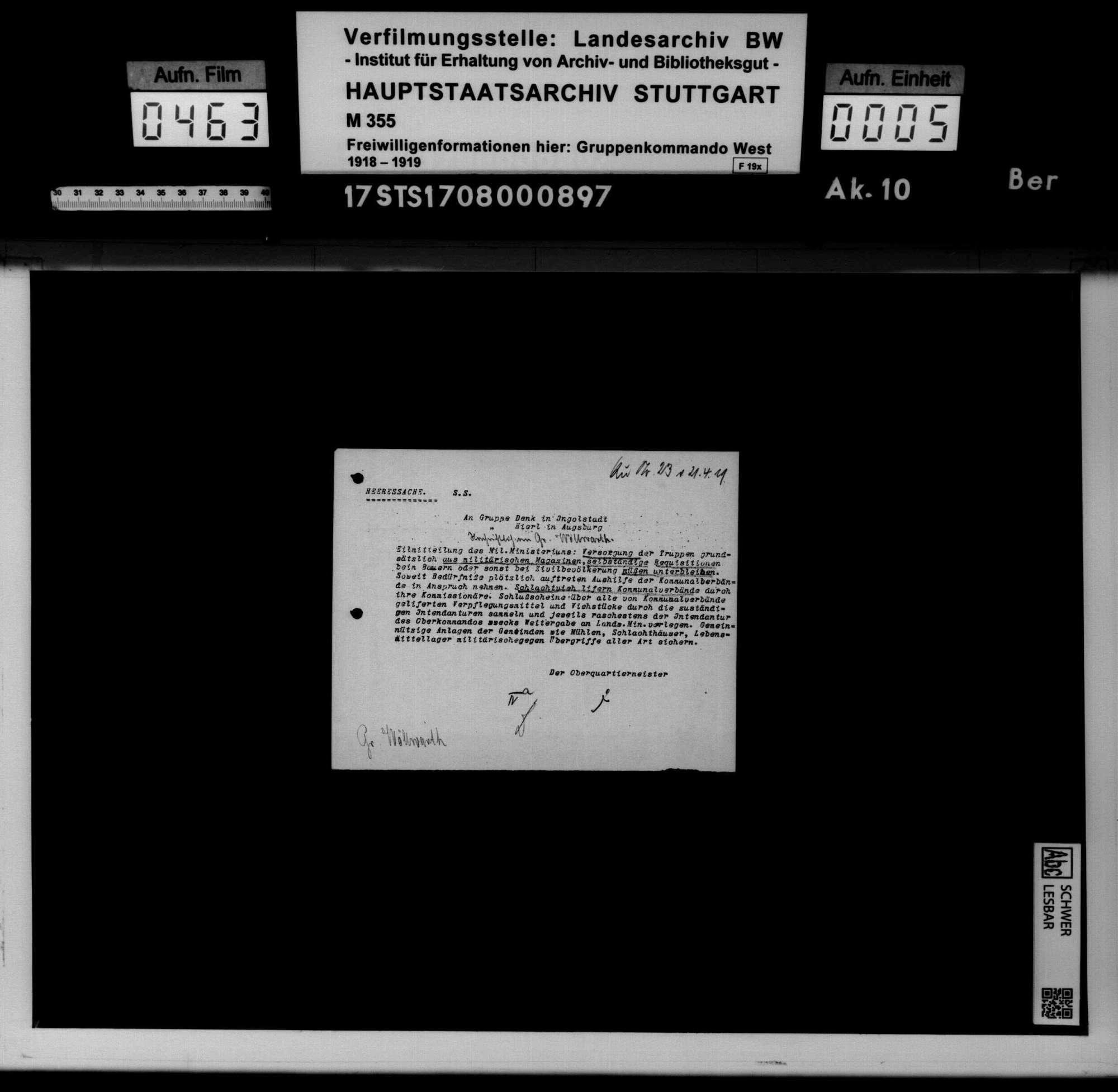 Befehle und Anordnungen des Württembergischen Kriegsministeriums, Generalkommandos XIII und der Bayerischen Behörden, Bild 3