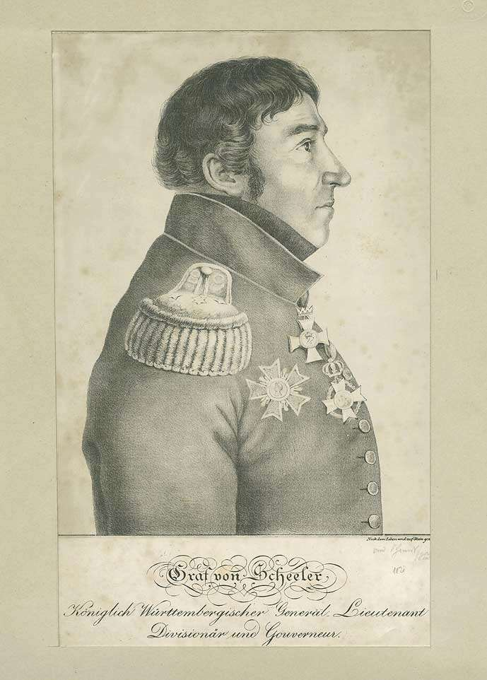 Graf Georg von Scheler (?), Generalleutnant, Kommandeur der Reiter-Division und Gouverneur von Stuttgart in Uniform mit Orden, Brustbild in Profil, Bild 1