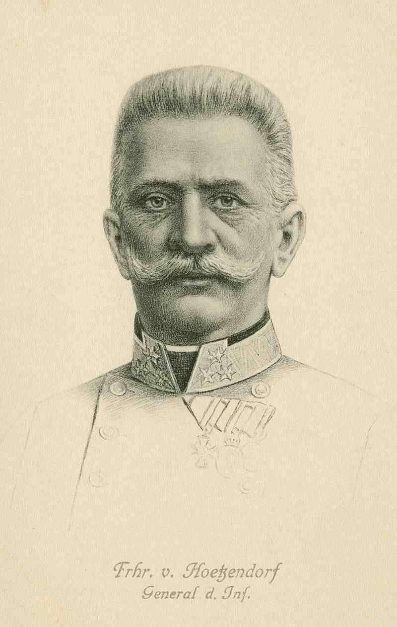 Freiherr Conrad Franz von Hoetzendorf, General der Infanterie, späterer österr.-ungarischer Feldmarschall in Uniform mit Orden, Brustbild, Bild 1