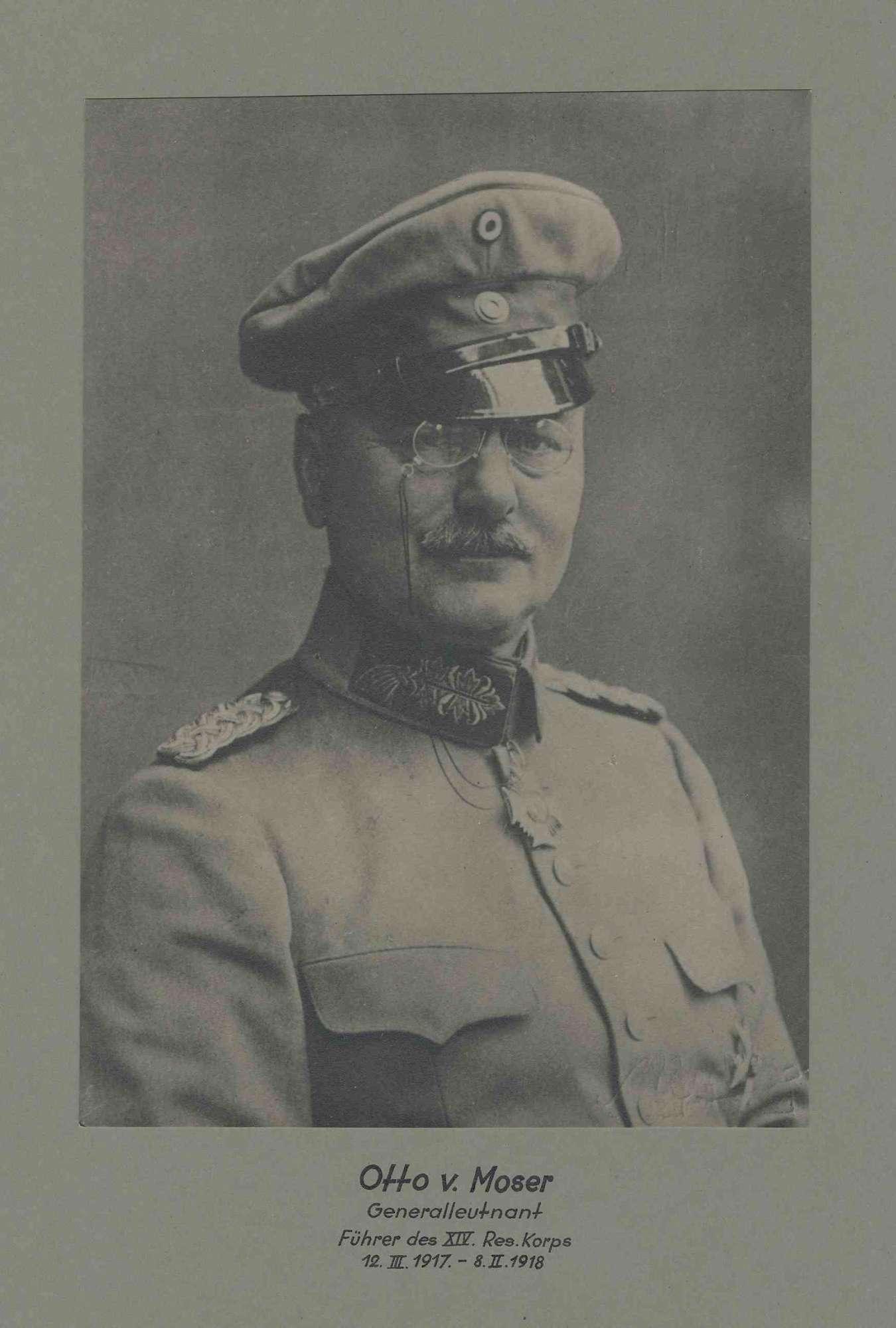 Otto von Moser, Generalleutnant, Kommandeur des XIV. Res. Korps von 1917-1918 in Uniform, Mütze mit Orden, Brustbild in Halbprofil, Bild 1
