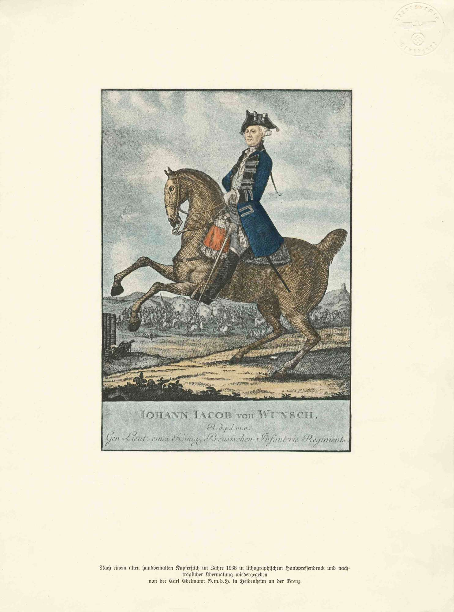 Johann Jakob von Wunsch, Generalleutnant eines Königl. Preuss. Infanterie-Regiments in Uniform mit Dreispitz-Hut zu Pferd, im Hintergrund Schlachtszene, Bild 1