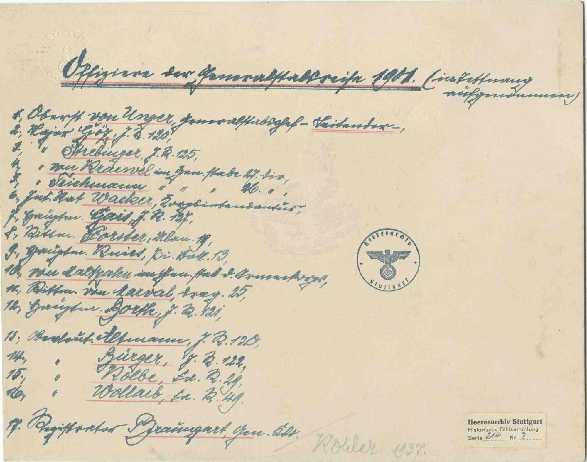 Generalstabsreise 1901 in Tettnang, Offiziere aus verschiedenen Einheiten, teils stehend, teils sitzend, in Uniform, teilweise mit Mütze, Bilder vorwiegend in Halbprofil, 1v