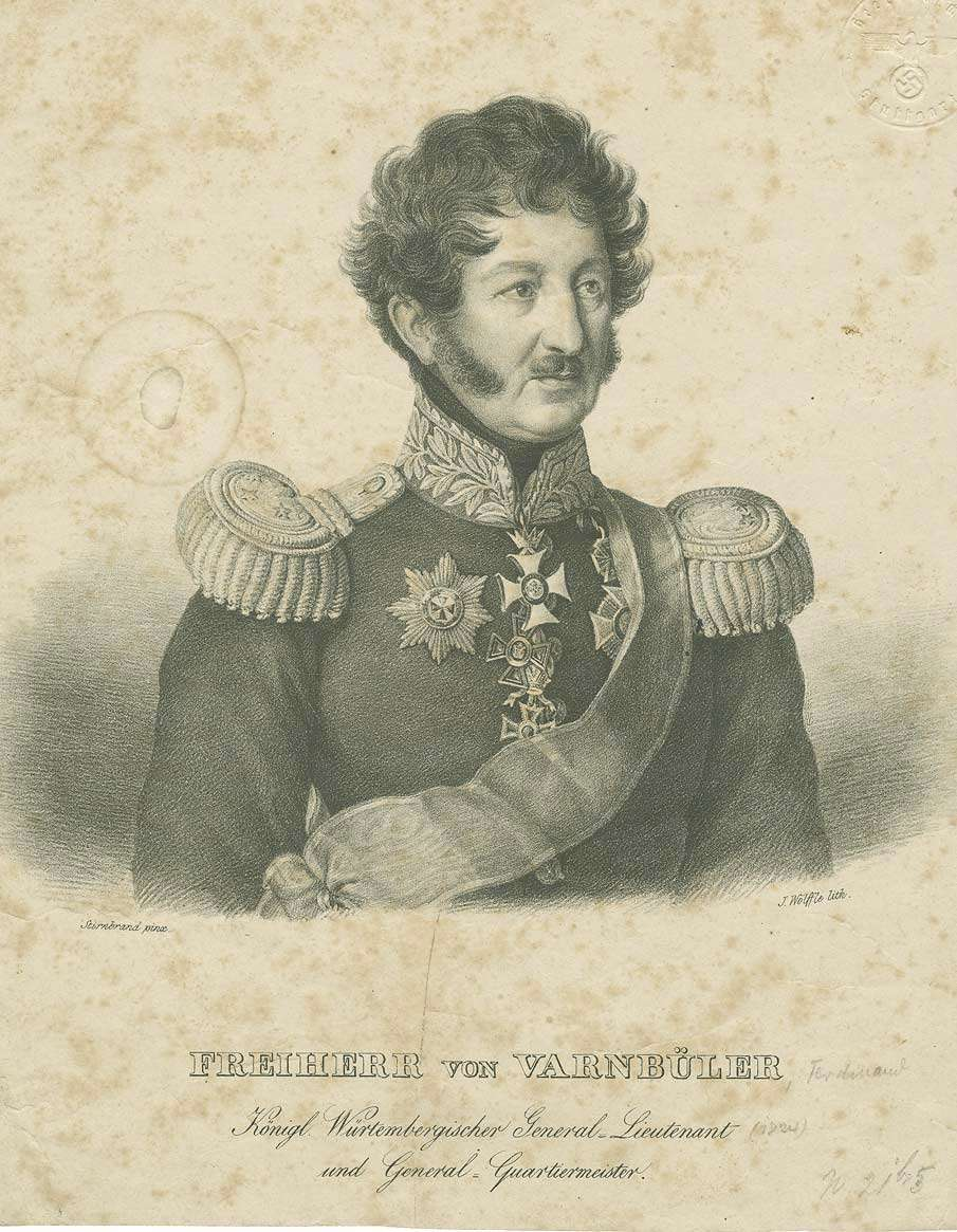 Freiherr Ferdinand von Varnbüler von und zu Hemmingen, Generalleutnant, Generalquartiermeister in Uniform, Schärpe und Orden, Brustbild in Halbprofil, Bild 1