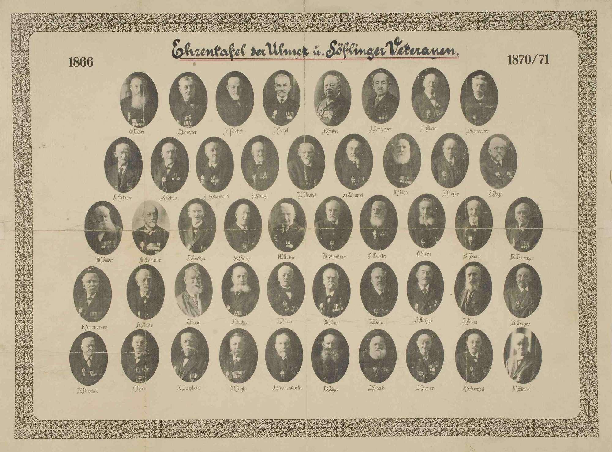 Ehrentafel der Ulmer und Söflinger Veteranen der Kriege 1866 und 1870/7, Einzelaufnahmen in Zivil mit Orden, Bilder vorwiegend in Halbprofil, Bild 1