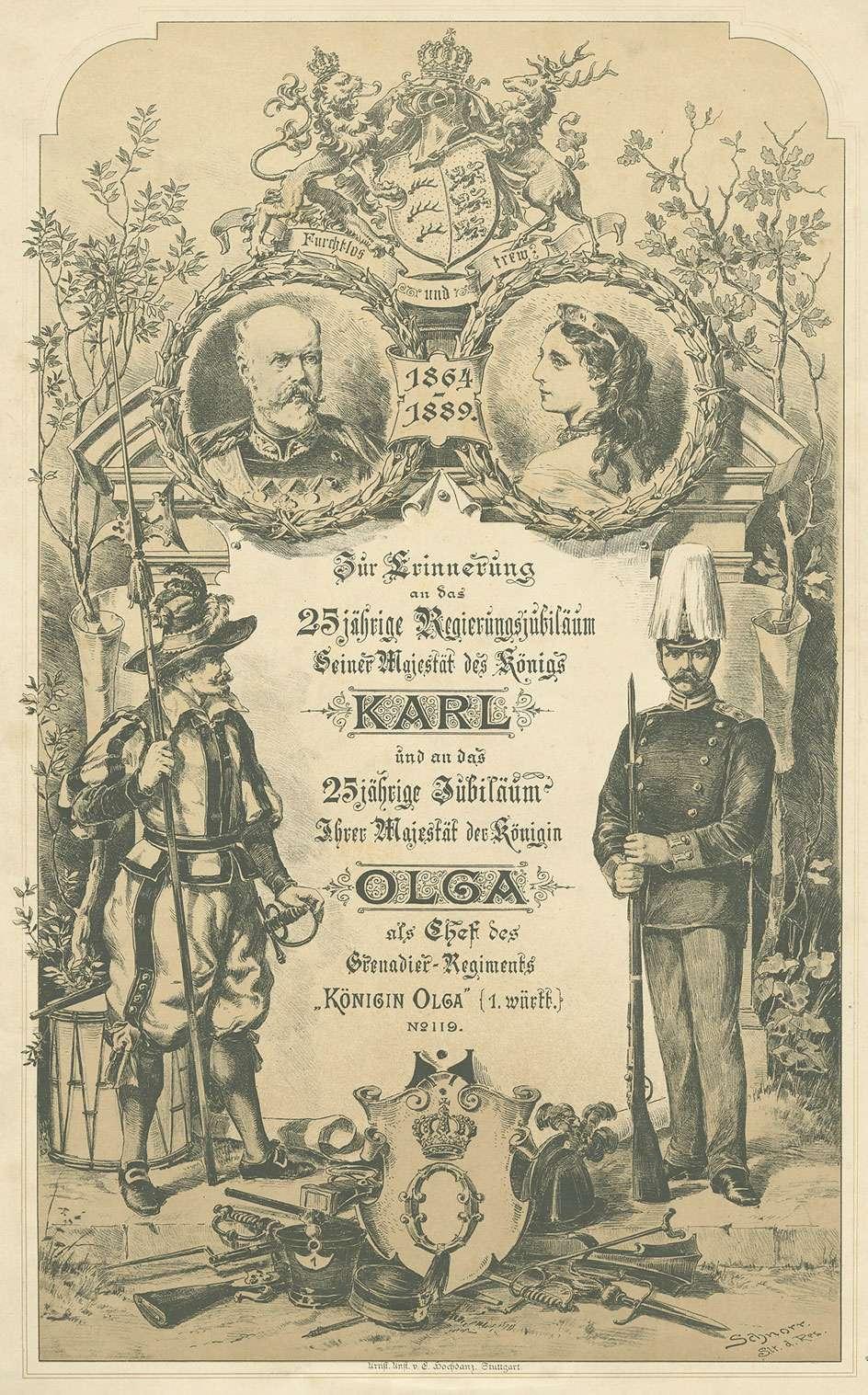 Geschmücktes Titelblatt Bildersammlg. vom Regiment an Königin Olga von Württemberg anlässl. ihres 25-jährigen Jubiläums als Chefin des Regiments und Dienstjubiläum König Karl von Württemberg, 1889, mit Medaillon des Paares, Bild 1