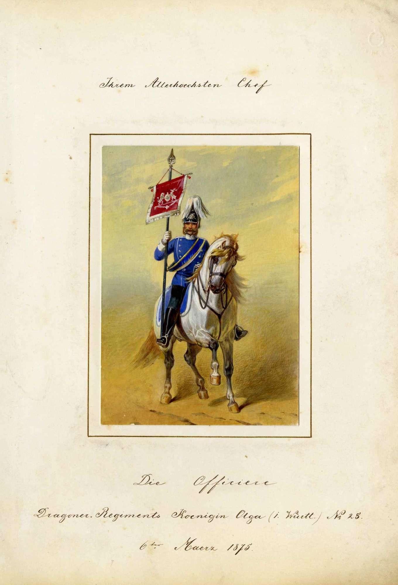 Standartenreiter des Dragoner-Regiments (Königin Olga) Nr. 25 in Uniform mit Zierhelm zu Pferd, in rechter Hand die Regimentsstandarte, Bild 1