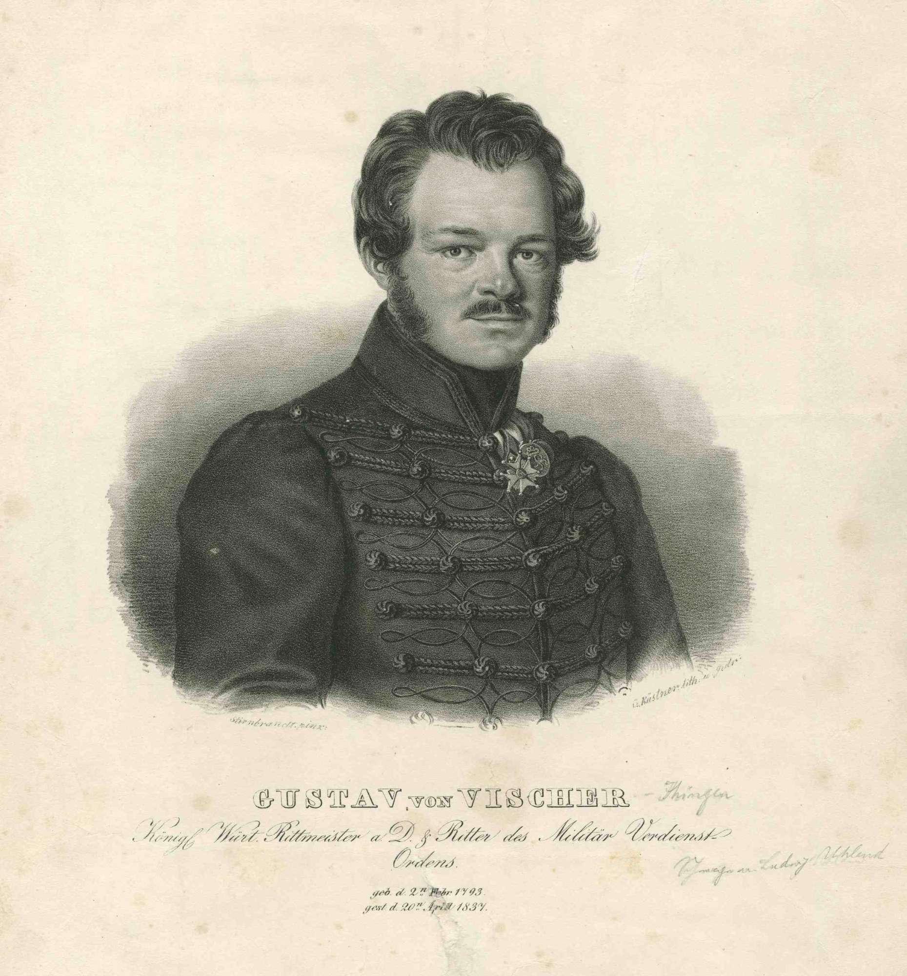 Gustav von Vischer-Ihingen, Rittmeister (Schwager Ludwig Uhlands), Brustbild mit Ritterkreuz des Württembergischen Militärverdienstordens, Bild 1