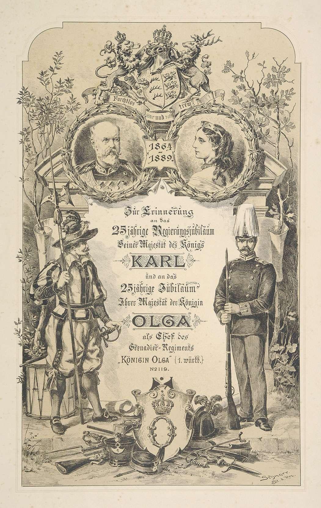 Ornamentiertes Titelblatt einer Bildersammlung als Geschenk zur Ehrung Königin Olga von Württemberg zum 25-jährigen Jubiläum als Chefin des Regiments und Dienstjubiläum König Karls von Württemberg, 1889, Bild 1