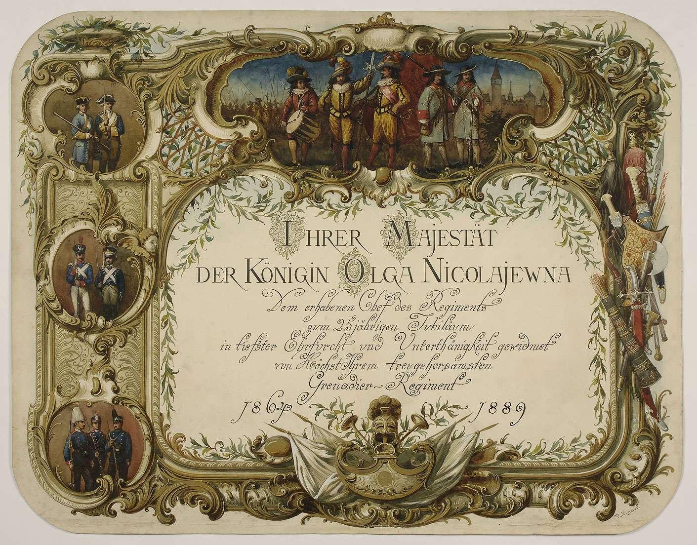 Titelblatt einer Bildersammlung als Geschenk zur Ehrung Königin Olga von Württemberg zum 25-jährigen Jubiläum als Chefin des Regimentes, 1889, Bild 1