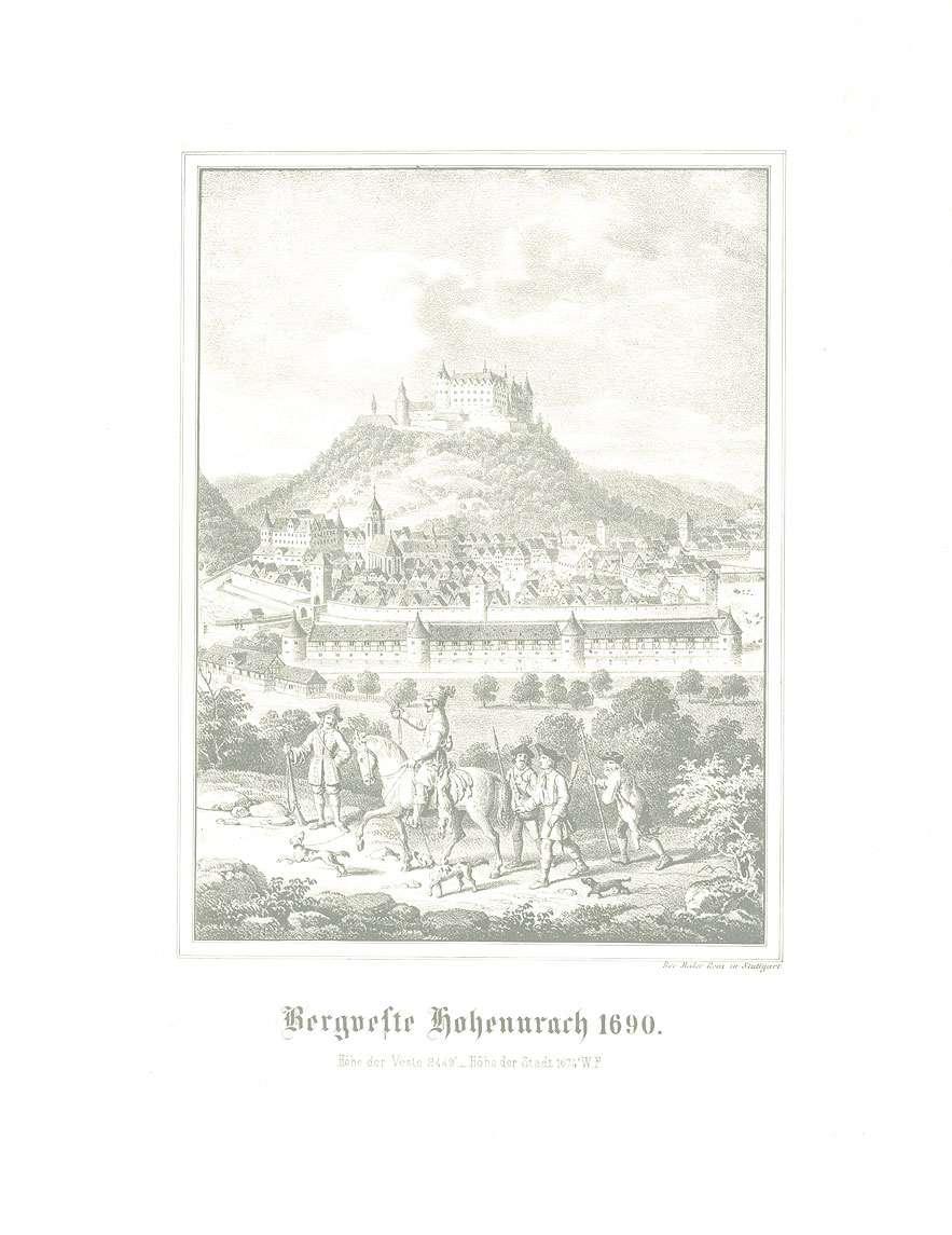 Ansicht der Festung Hohenurach und der Stadt Urach, 1690, im Vordergrund ein Reiter, Personen, Bild 1