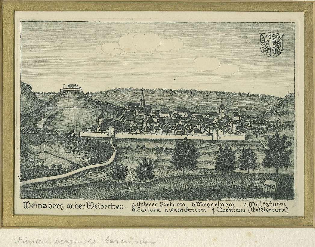 Gesamtansicht, Weinsberg an der Weibertreu mit Benennung der Stadttürme, Bild 1