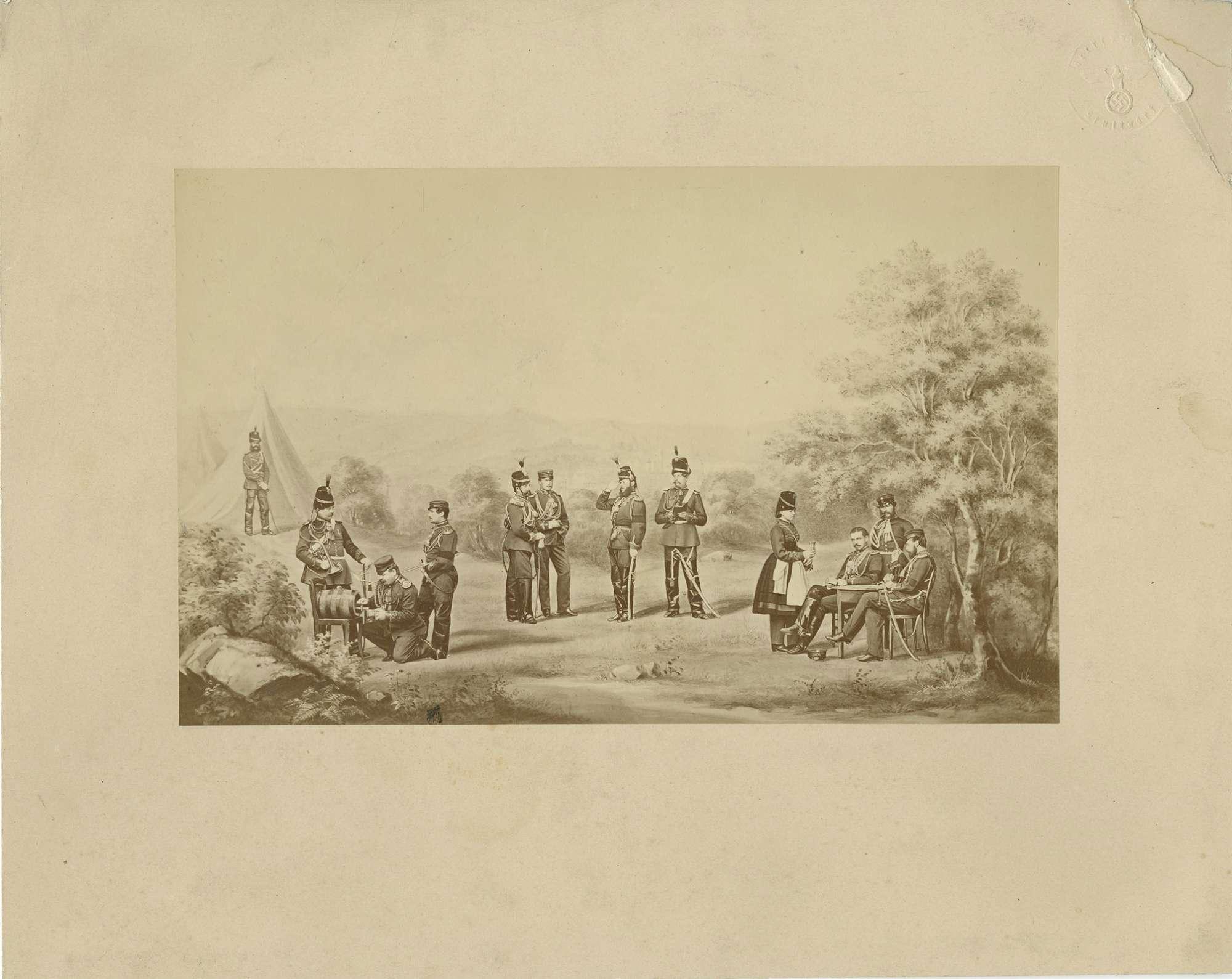 Offiziere der Leibgarde zu Pferd bei Urach im Zeltlager, Bild 1