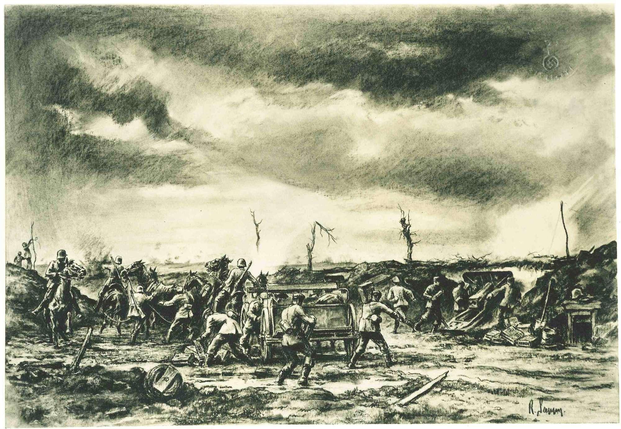 4. Batterie des Regiments bei Villars-au-Flos, ca. vierzehn Soldaten in Uniform mit Stahlhelm, teils am Geschütz, teils einen Wagen entladend, teils mit Pferden auf dem Schlachtfeld, 1r