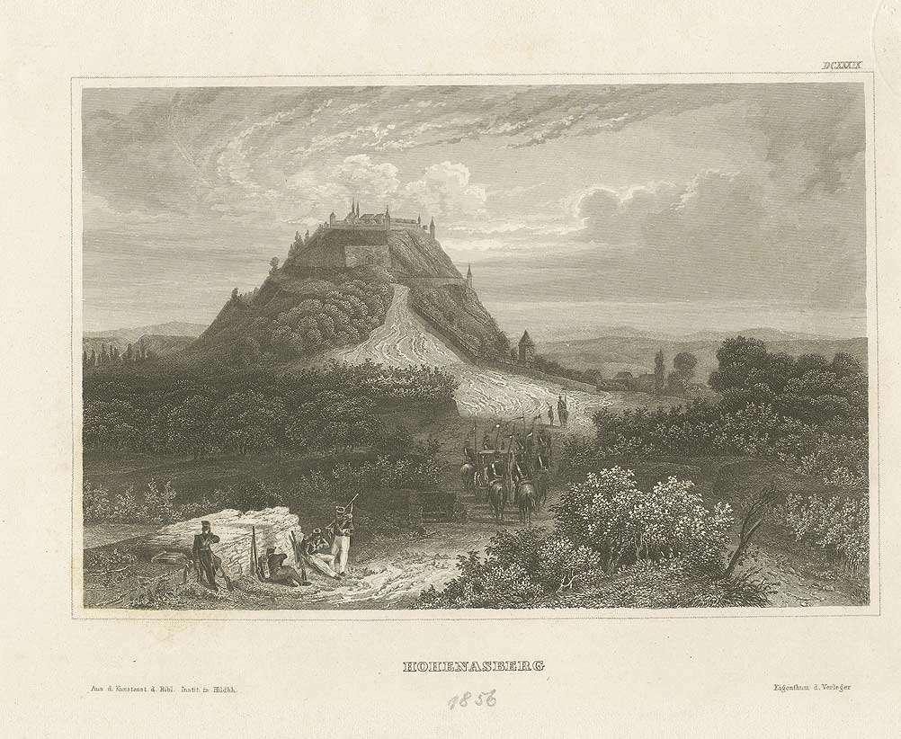 Festung Hohenasperg, 1856, im Vordergrund eskortieren Ulanen zu Pferd eine Kutsche zur Festung, Bild 1