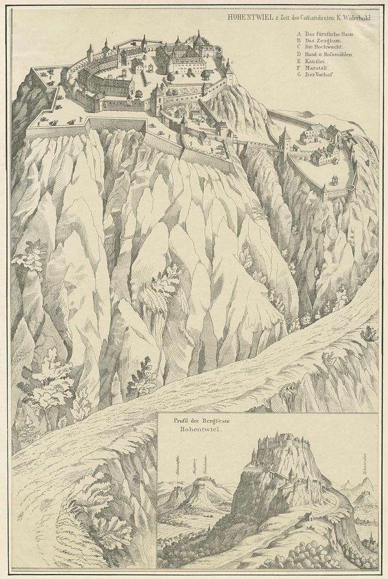 Festung Hohentwiel aus der Vogelperspektive, 17. Jh., darunter ein Profil der Bergfeste Hohentwiel, Bild 1